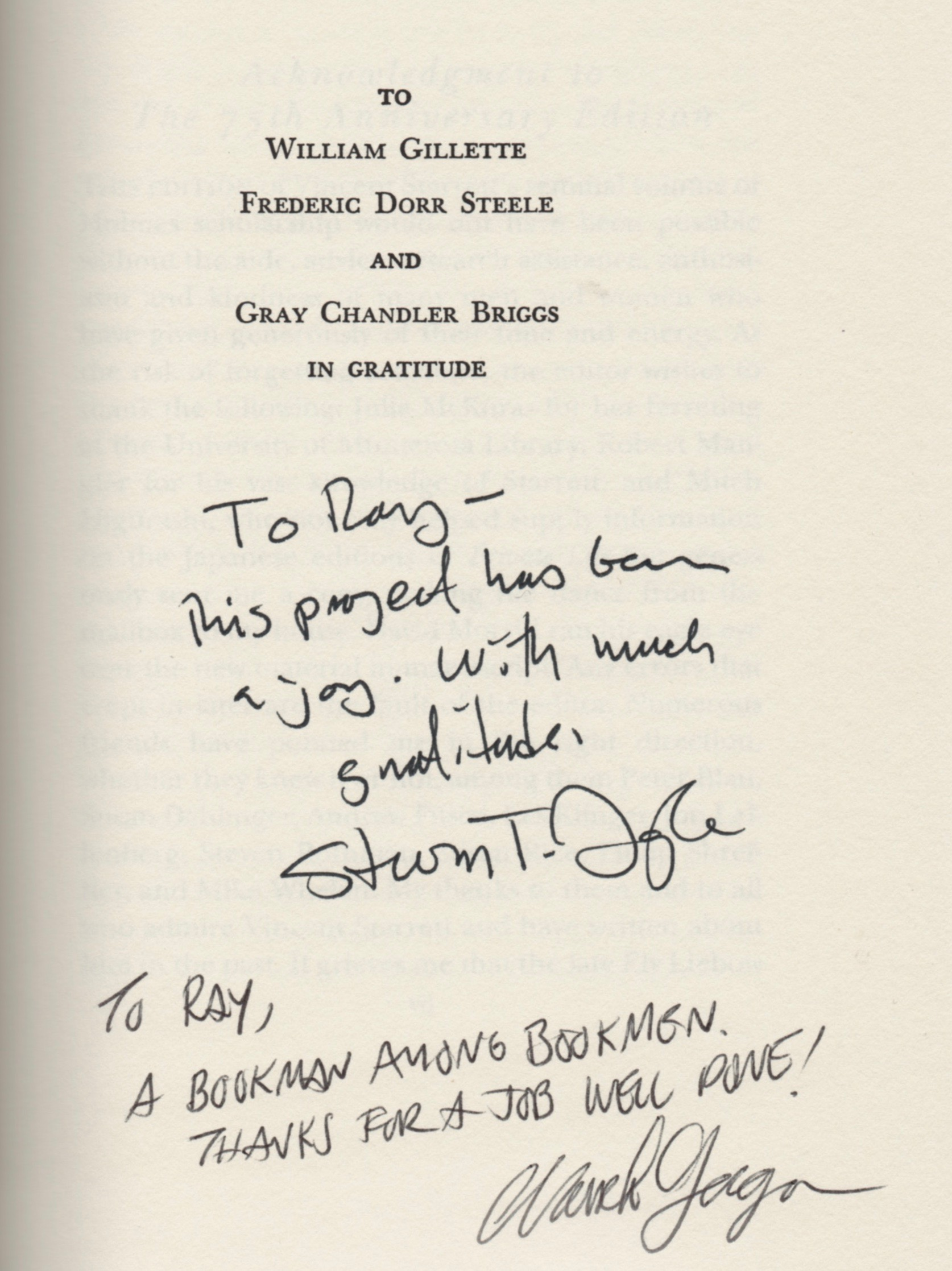 This is Ray's inscribed copy of the 75th anniversary edition with good wishes from Steve Doyle and Mark Gagen.