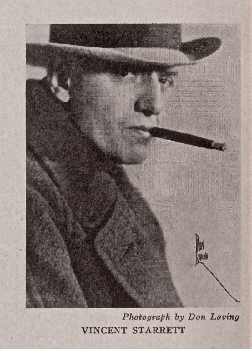 Don Loving's photo of Starrett, from the back inner dust jacket flap of the 1933 Macmillan edition.