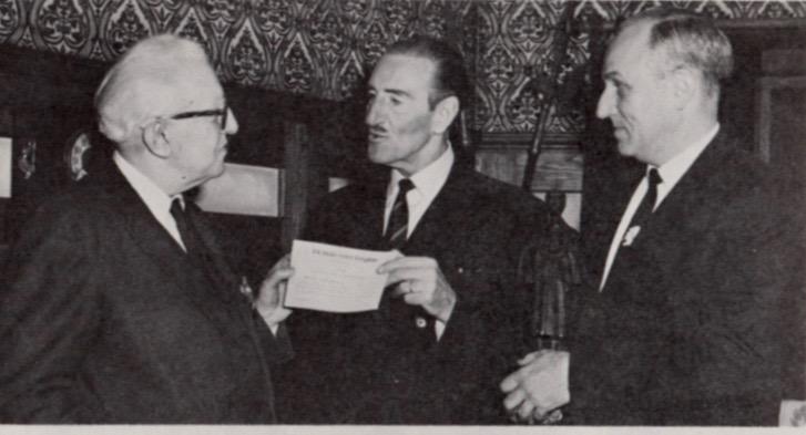 A 1967 photo showing Starrett, Rathbone and Chicago Sherlockian Robert Hahn.