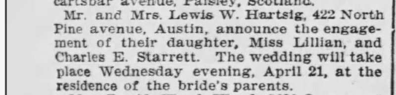 The engagement notice for Starrett and Lillian Hartsig from the March 29, 1909 issue of the  Chicago Tribune.
