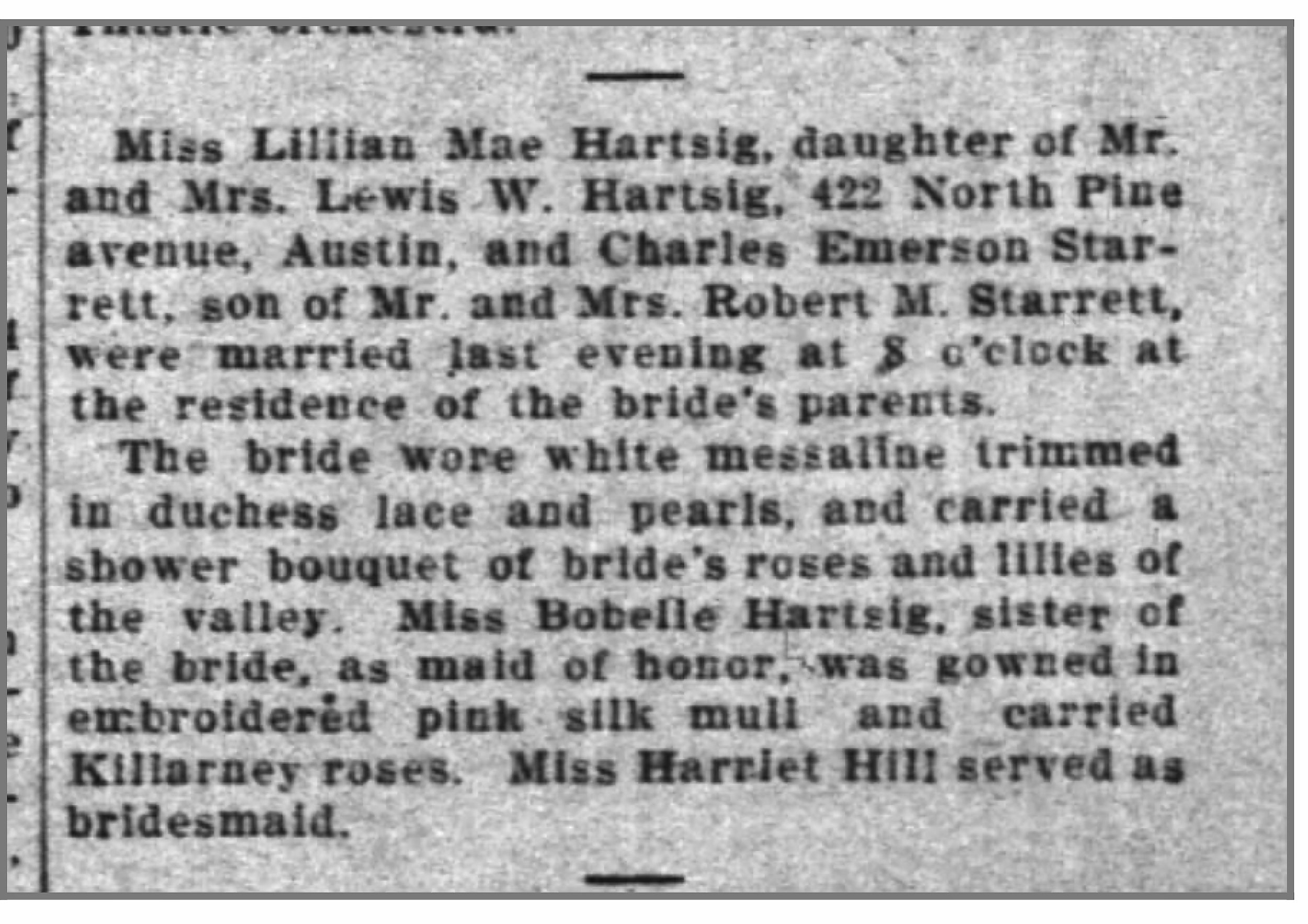 The April 22, 1909 wedding notice of Vincent and Lillian from  The Chicago Inter Ocean  newspaper.