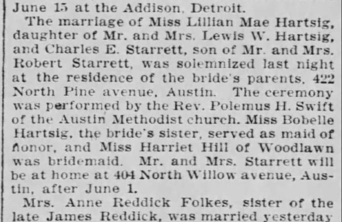 The  Chicago Tribune 's April 22, 1909 wedding notice.