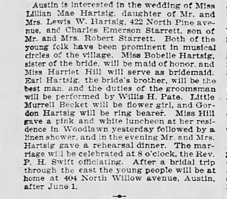 An extended wedding notice from the  Tribune  for April 21, 1909.