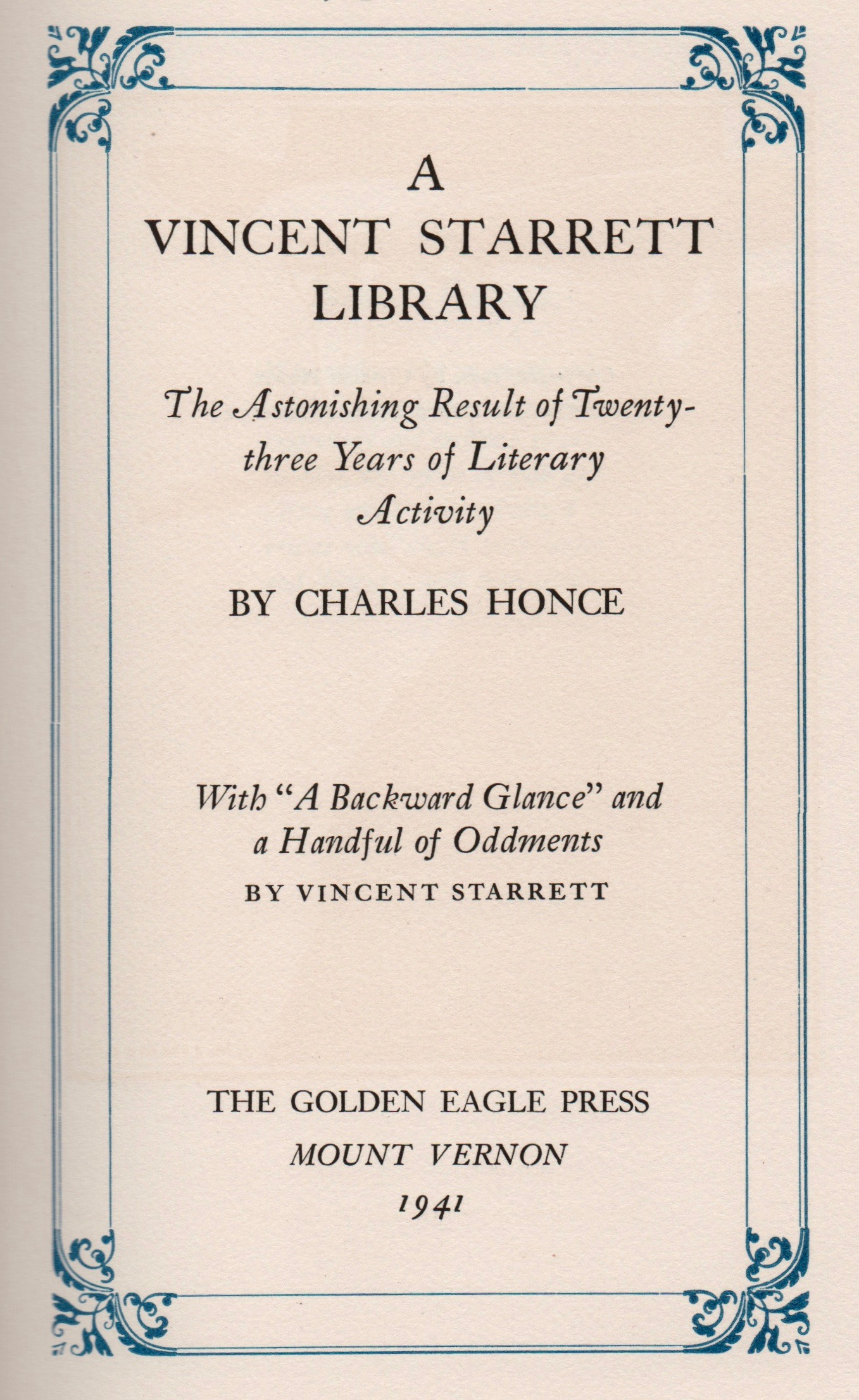 Title page to Honce's bibliography of Starrett's work.