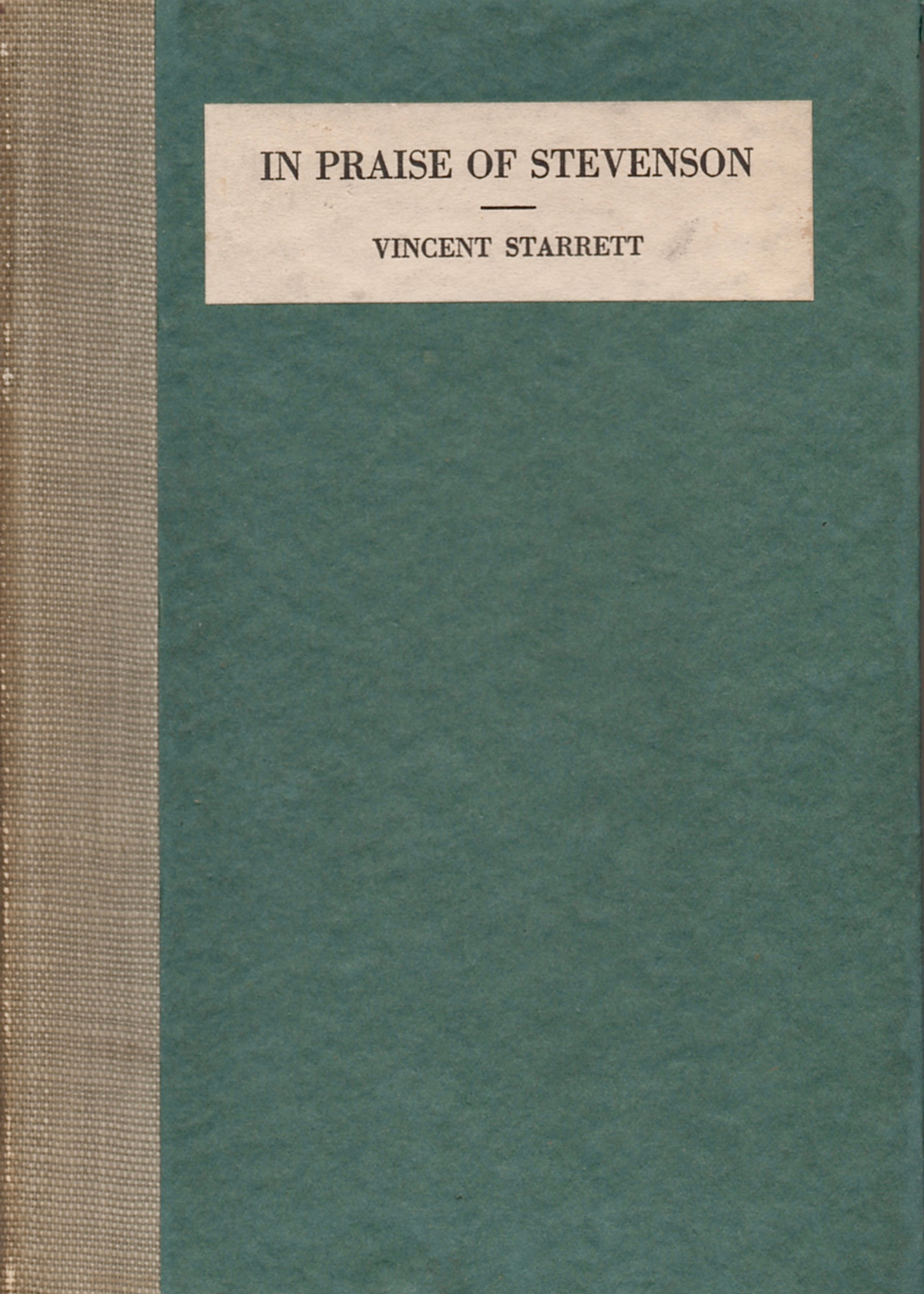 Starrett edited this anthology of verse dedicated to Robert Louis Stevenson, published in 1919.