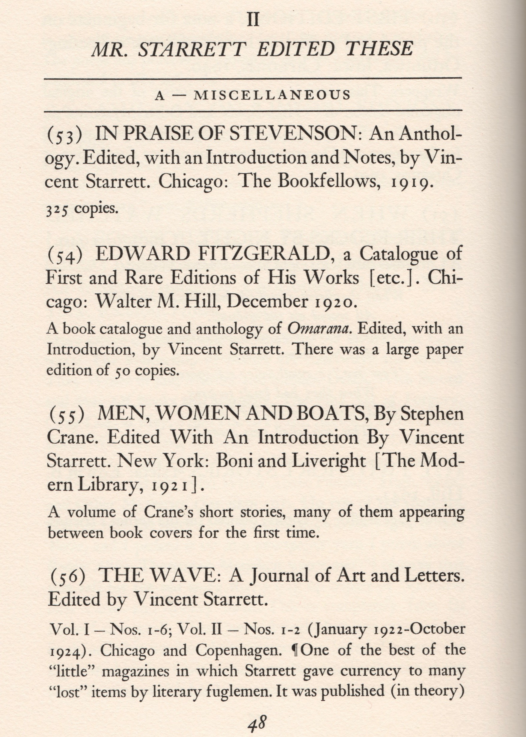 The first page of the bibliography's second section, dedicated to works Starrett edited.