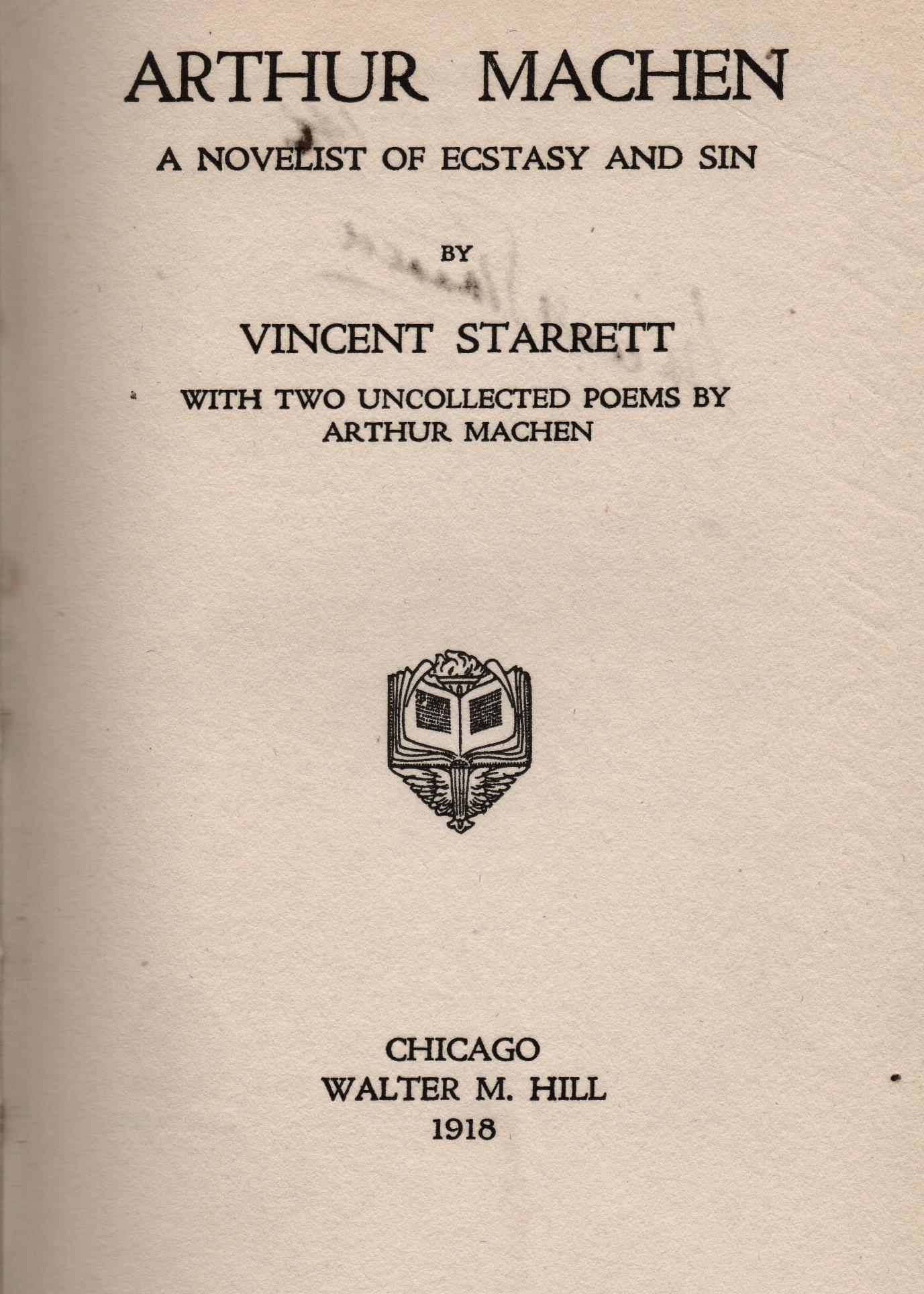 Title page to Starrett's 1918 book on Arthur Machen.