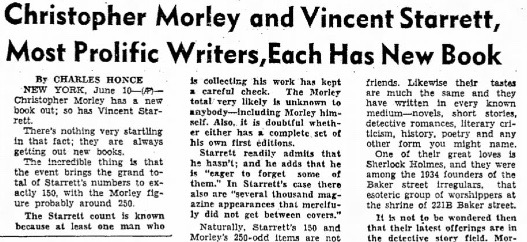 A portion of Honce's June 10, 1944 story on new books by Morley and Starrett as published in the June 11, 1944 Abilene (TX) Reporter.