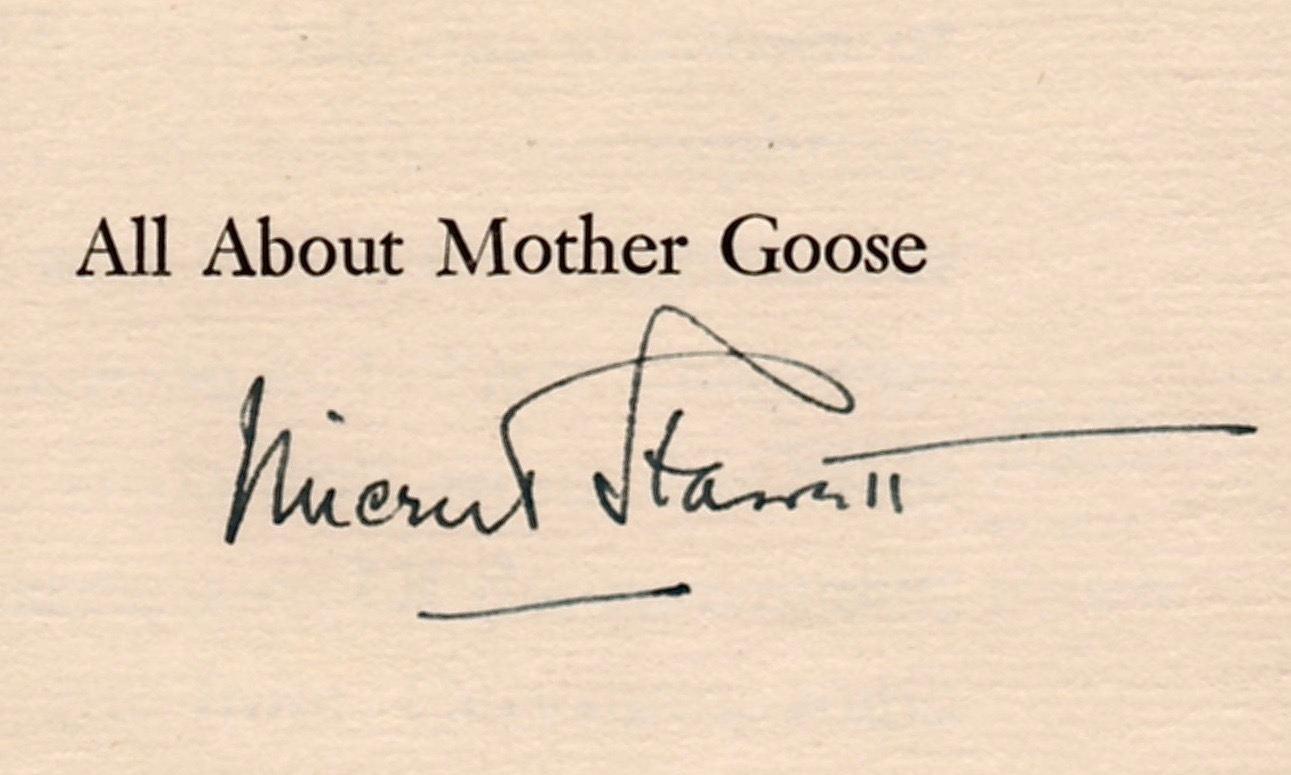 """Starrett's signature on a copy of the 1930 booklet,  All About Mother Goose,  published by the Appelicon Press of Glen Rock, Pa., in a limited edition of 275 copies, """"of which 250 are for sale""""."""