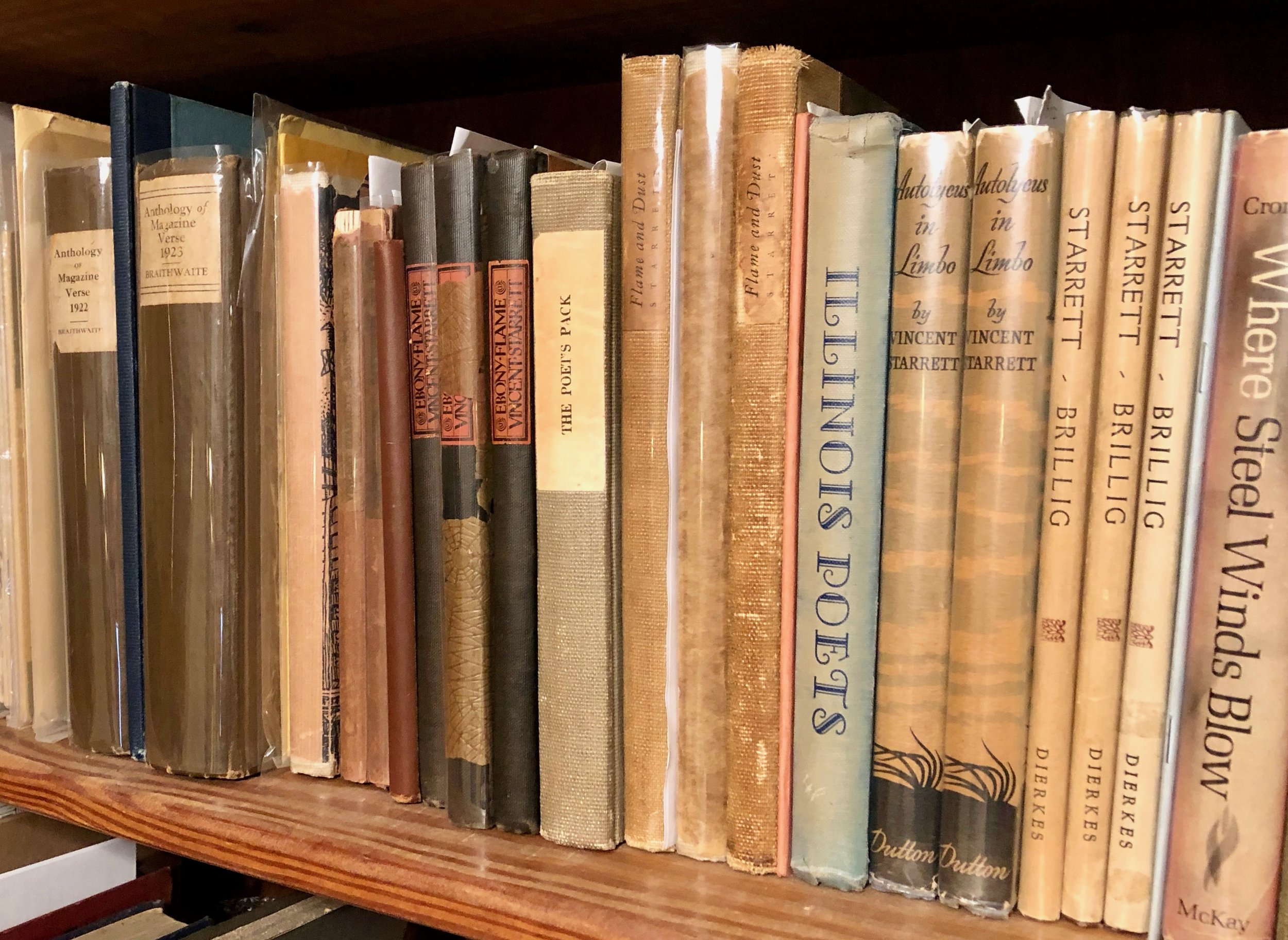 A shelf of Vincent Starrett poetry, from the author's collection.