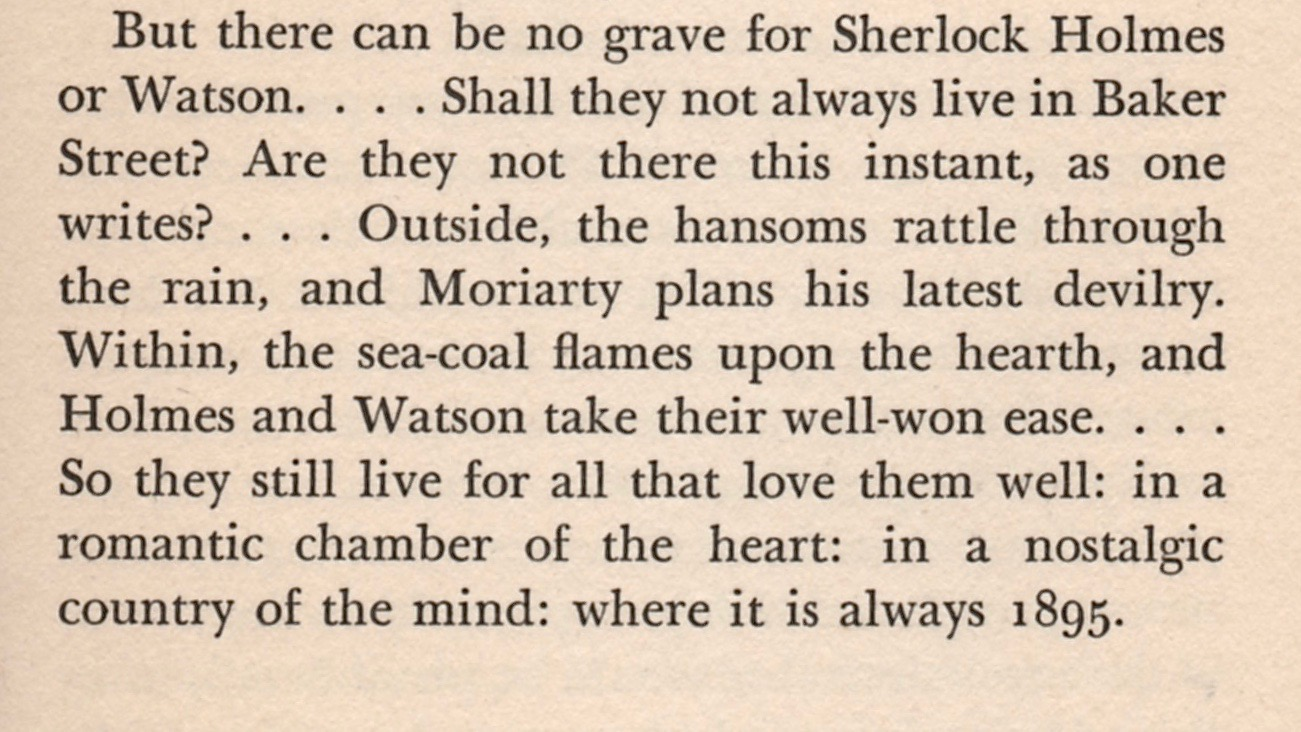 A section of page 93 from the first edition of Starrett's  The Private Life of Sherlock Holmes,  published in New York by The Macmillan Company in 1933.