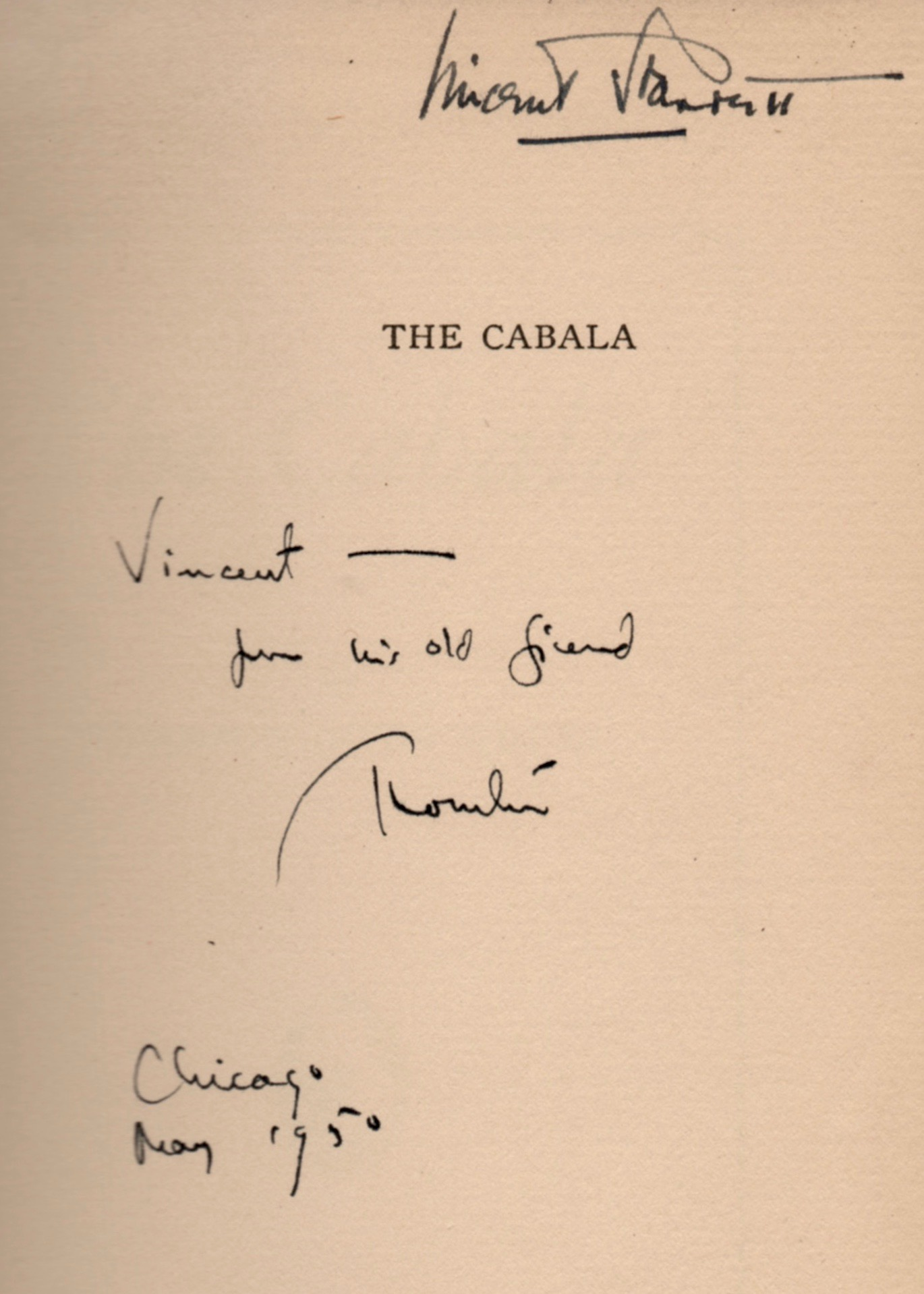 Thornton Wilder's inscription to Starrett