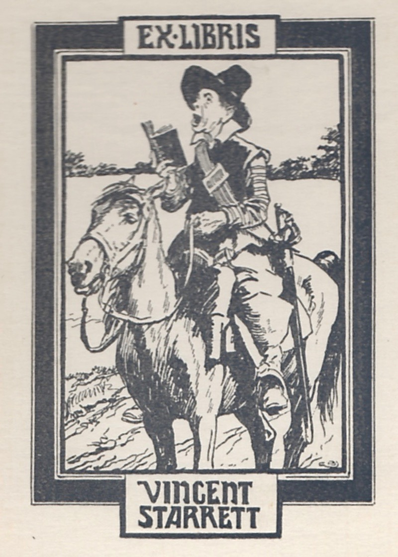 """Here's the bookplate from the novel, created by Gordon Browne. If the top portion looks a little out of focus, that's because the originals were all printed this way. In fact, it's how you can tell they were """"first edition"""" bookplates. To find out more about Starrett's various plates, go  here ."""