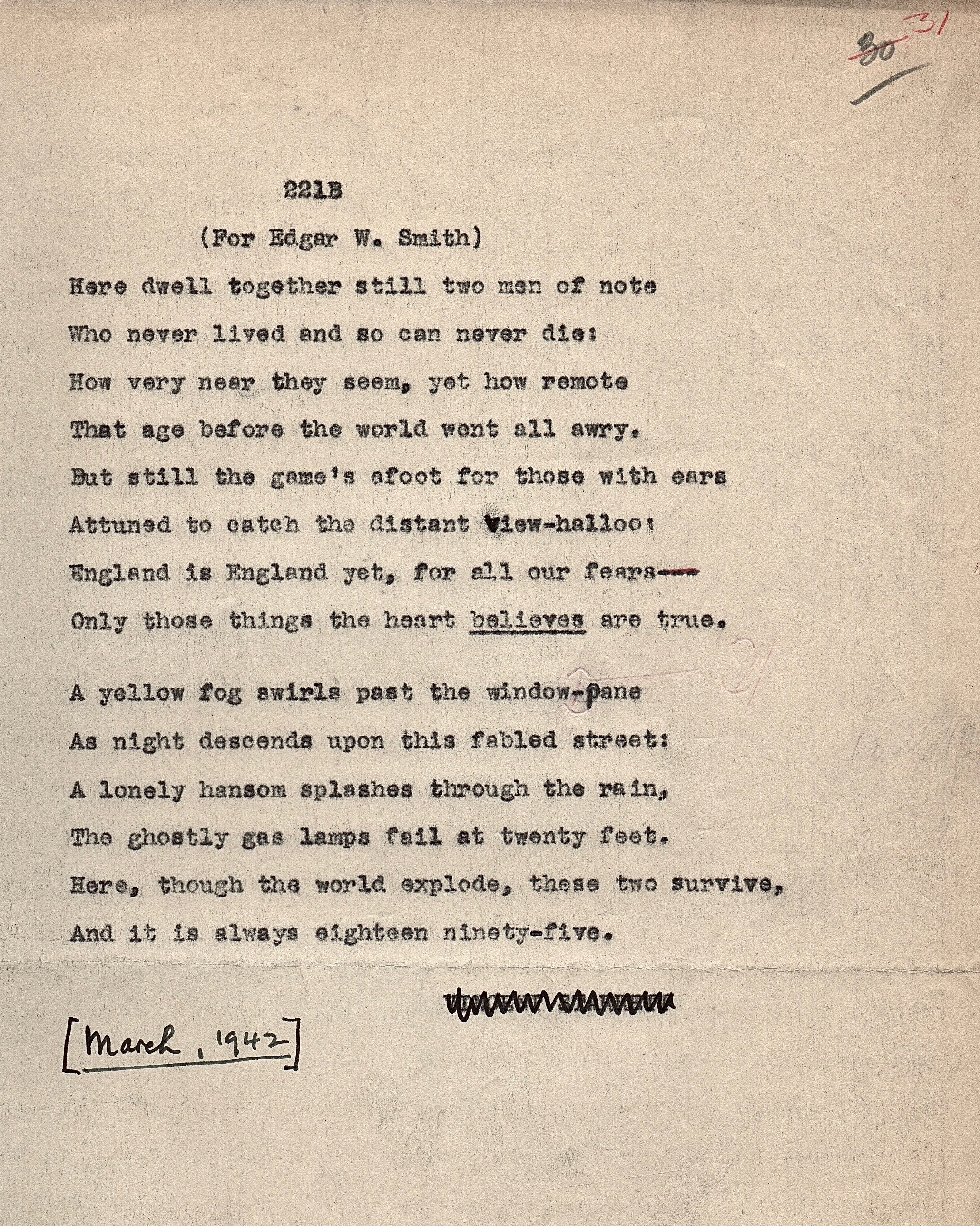 The poem as typed by Starrett and used in the manuscript for his 1943 book of poetry,  Autolycus In Limbo . More about that book later. From the author's collection.
