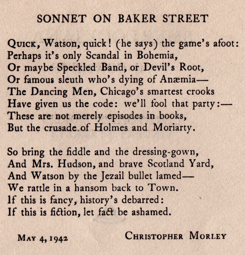 Morley's sonnet appeared on the inside left page.
