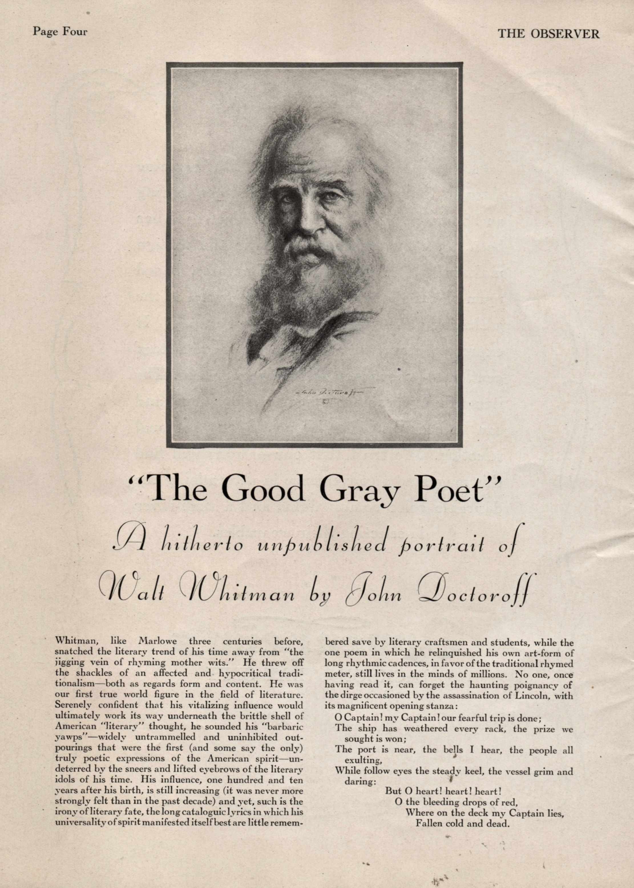 This little Whitman essay is unsigned. Did Starret have a hand in it?