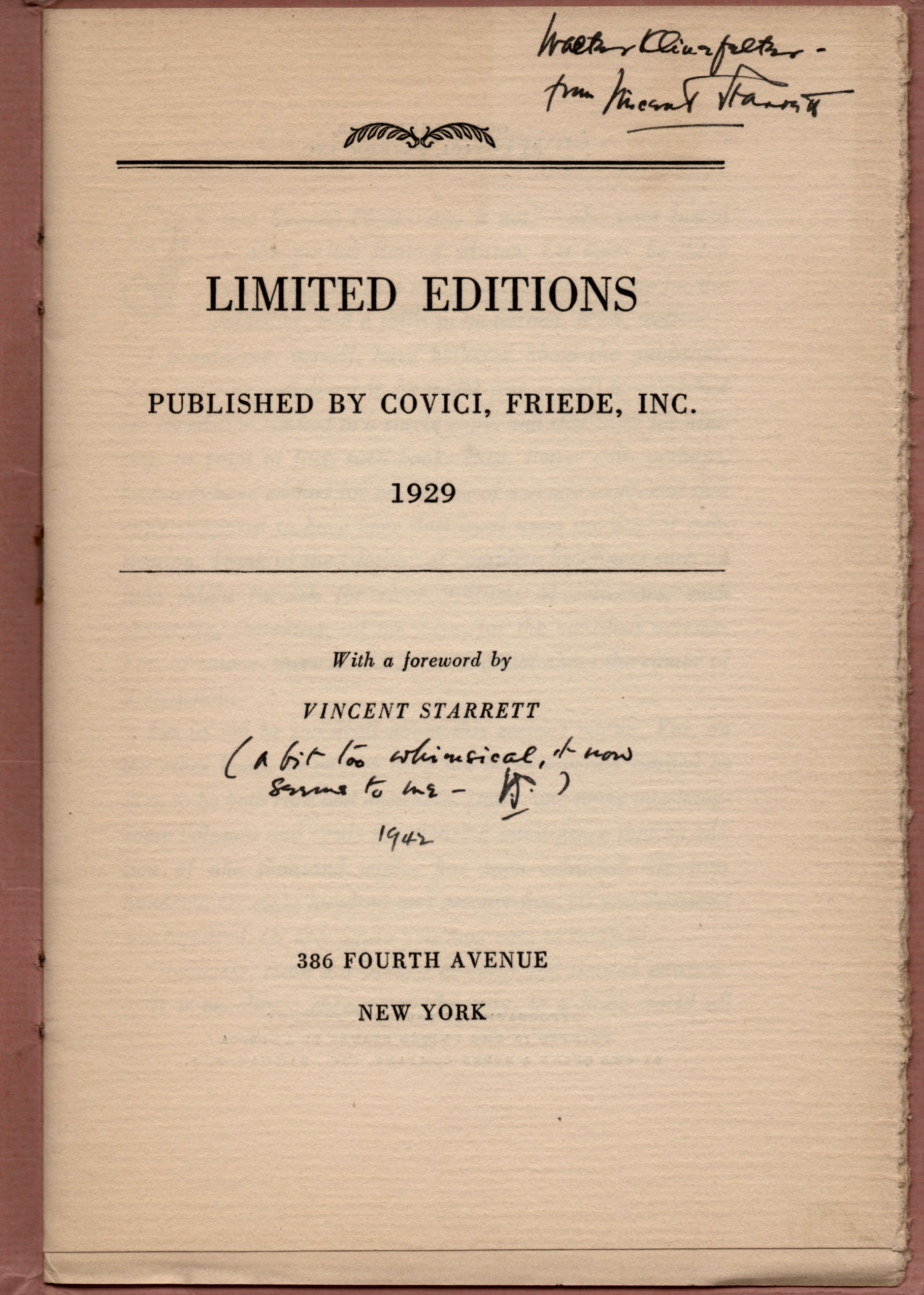 """Starrett has inscribed this to Walter Klinefelter and then added """"A bit too whimsical, it now seems to me — VS/1942"""""""