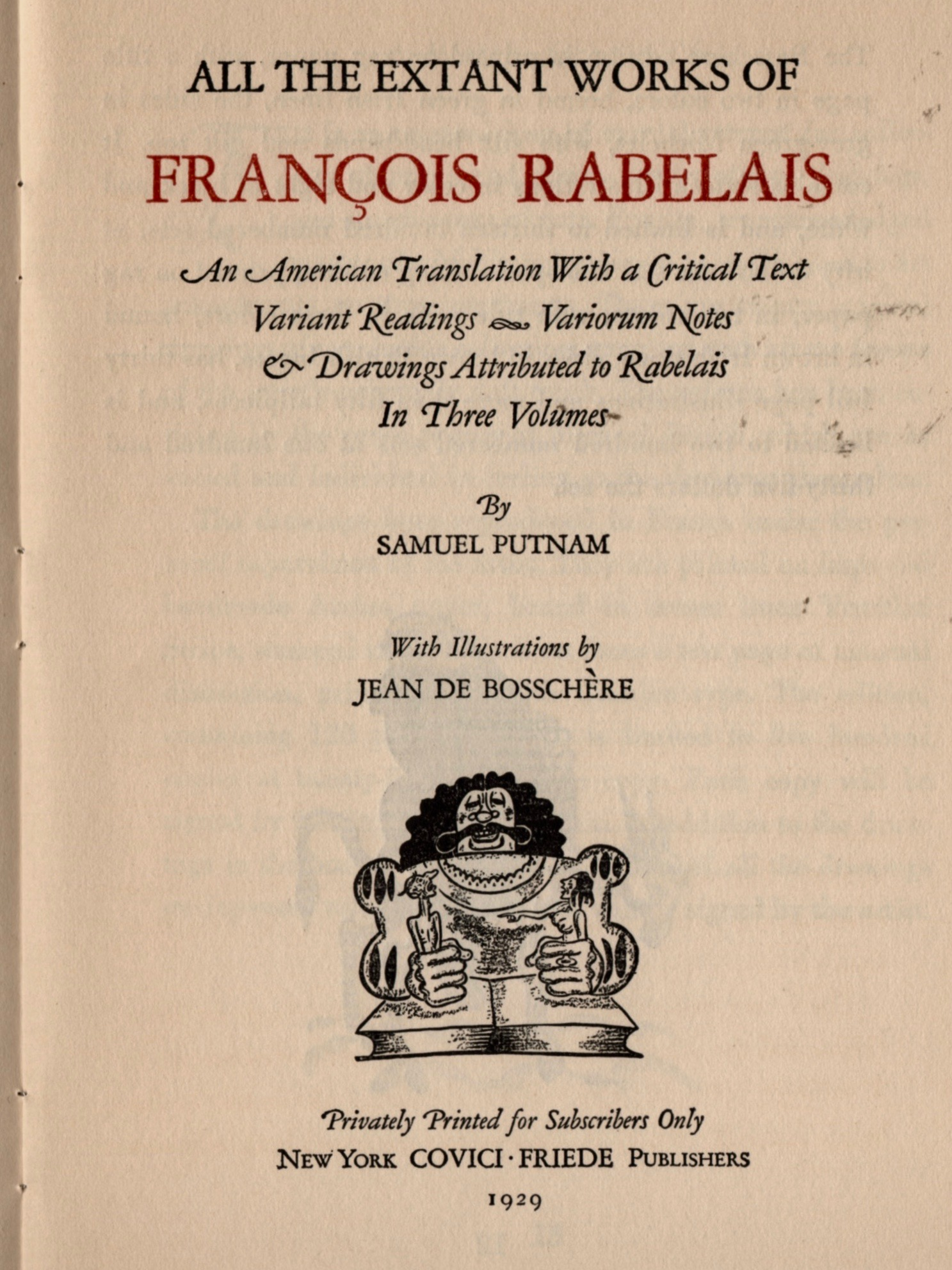 The handsome full-page reproduction of the Rabelais title page.