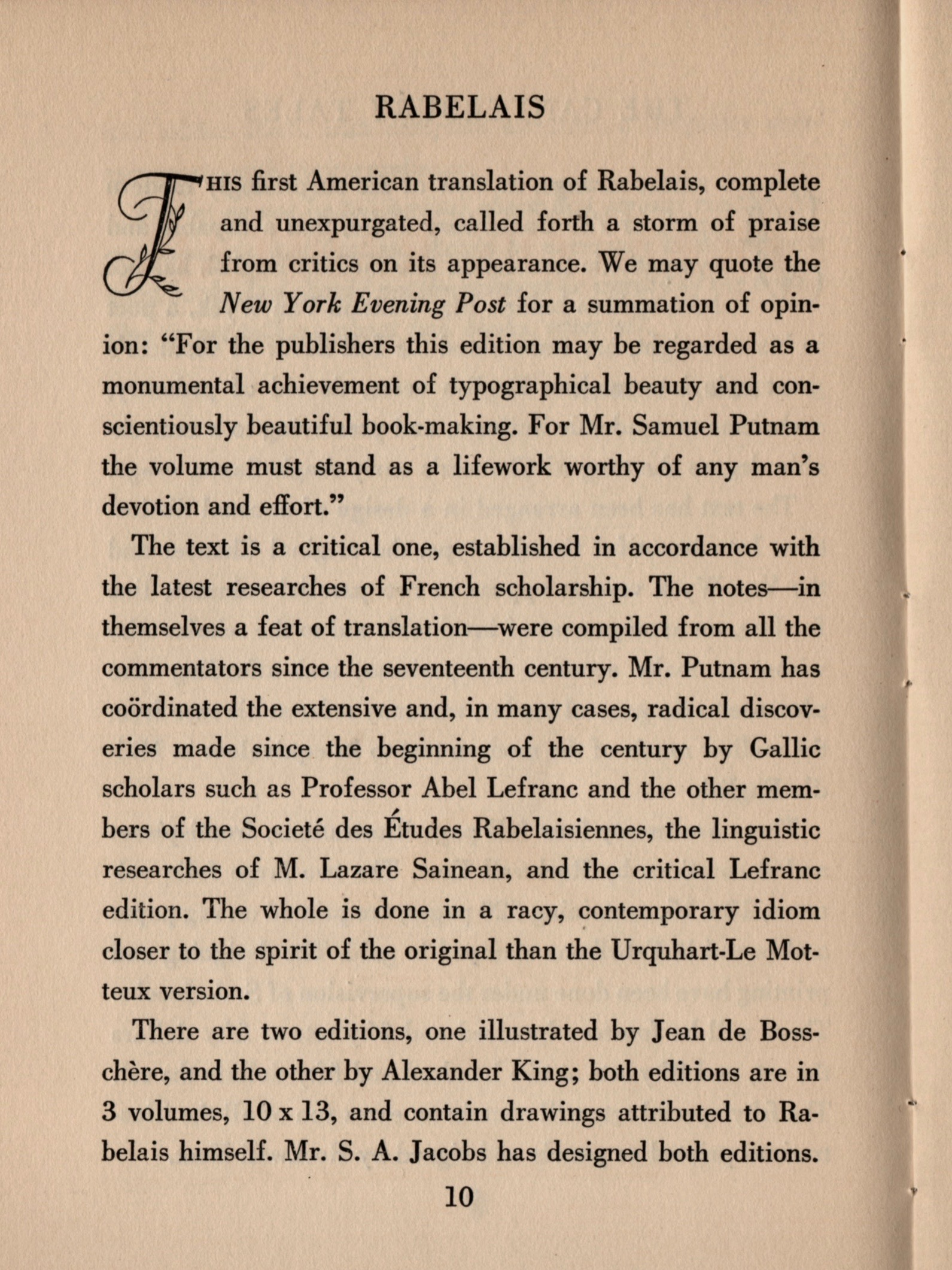 Here is a sample page promoting the publication of a three-volume translated set of Francios Rabelais' works.
