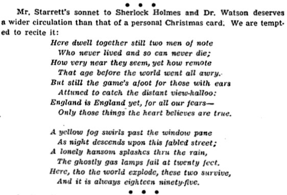 """""""221B"""" as it appeared in Charles Collins' column, Bookman's Holiday, from January 3, 1943 in the  Chicago Tribune."""