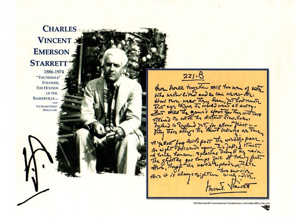 Published by The Hounds of the Baskerville (sic) in 2003 Chicago to honor their 60th anniversary.