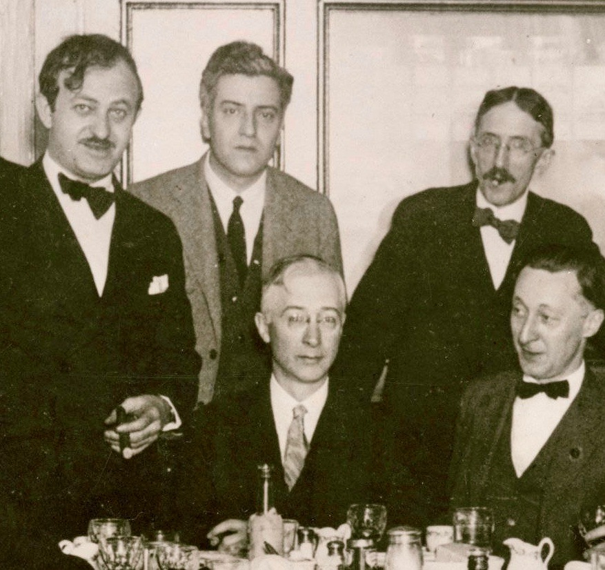 The only photo that I can find showing Starrett and Collins together. The group includes, standing, Ben Hecht, Starrett,  Daily News  Managing Editor Henry Justin Smith and, seated, Collins with  Daily News  reporter Harry Hansen. The photo was taken in 1924 when Hecht was leaving Chicago for New York.  From  Born in a Bookshop , Starrett's memoirs, published in 1965 by the University of Oklahoma Press.