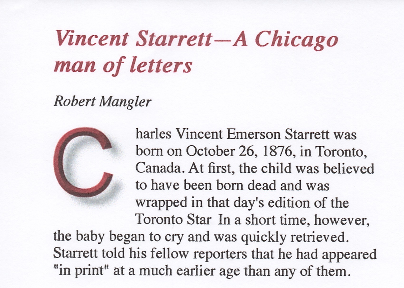 The beginning of Bob Mangler's tribute to Vincent Starrett.