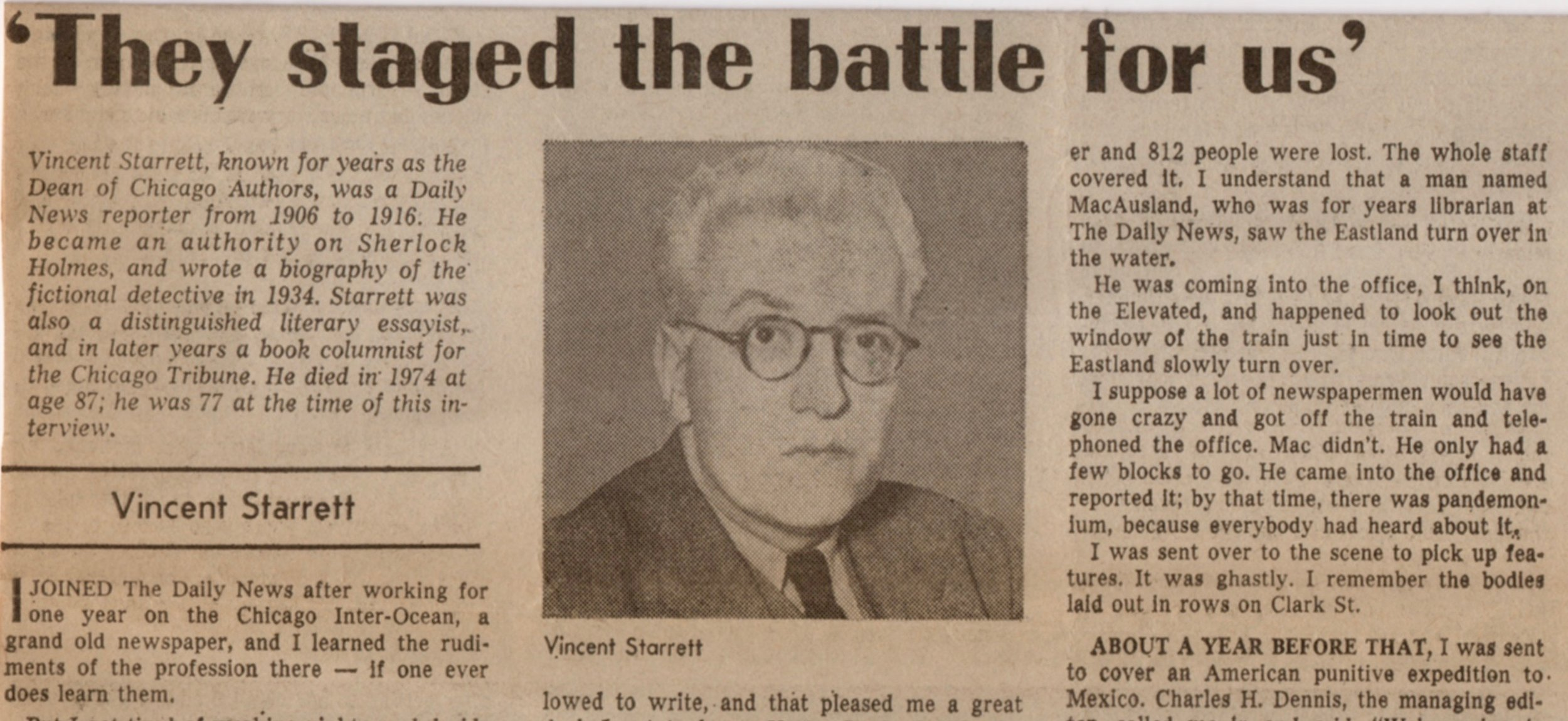 Published by the  Chicago Daily News  in 1976, this article is based on a 1964 interview with the man himself.