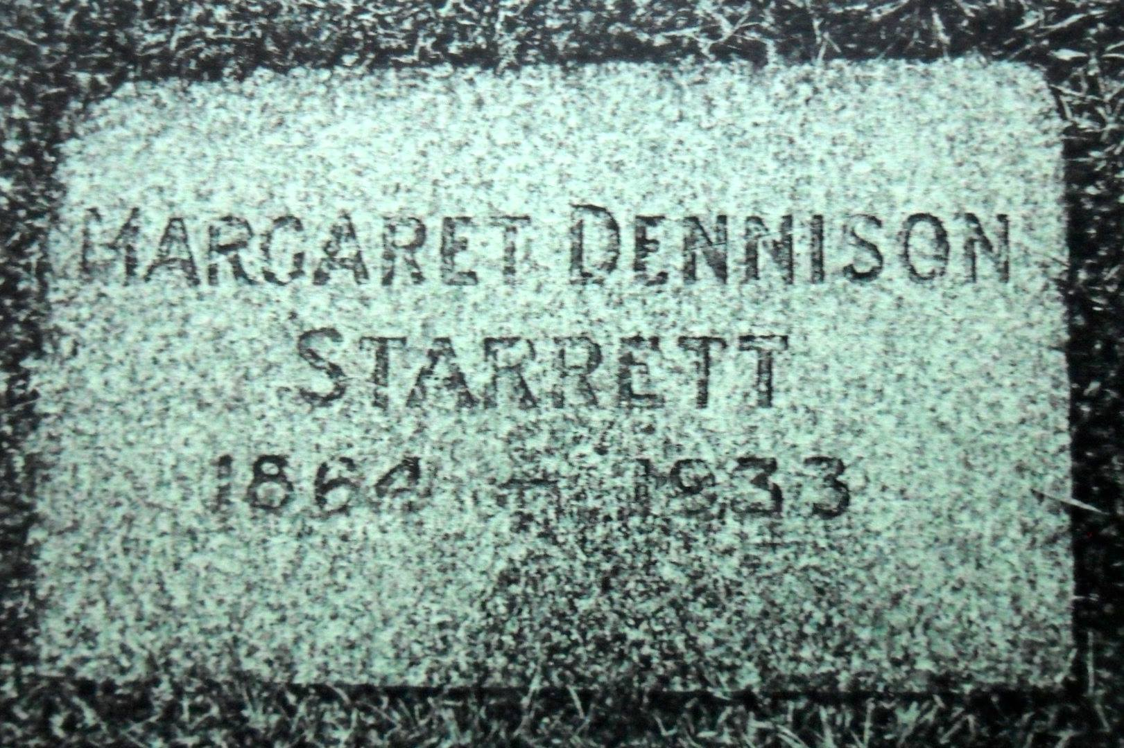 A photo of Margaret Starrett's headstone, provided by Fran Martin of Vancouver. Fran and other members of the Stormy Petrels, the Sherlock Holmes group in Vancouver, visit her grave each year, which is a kind and thoughtful thing to do.