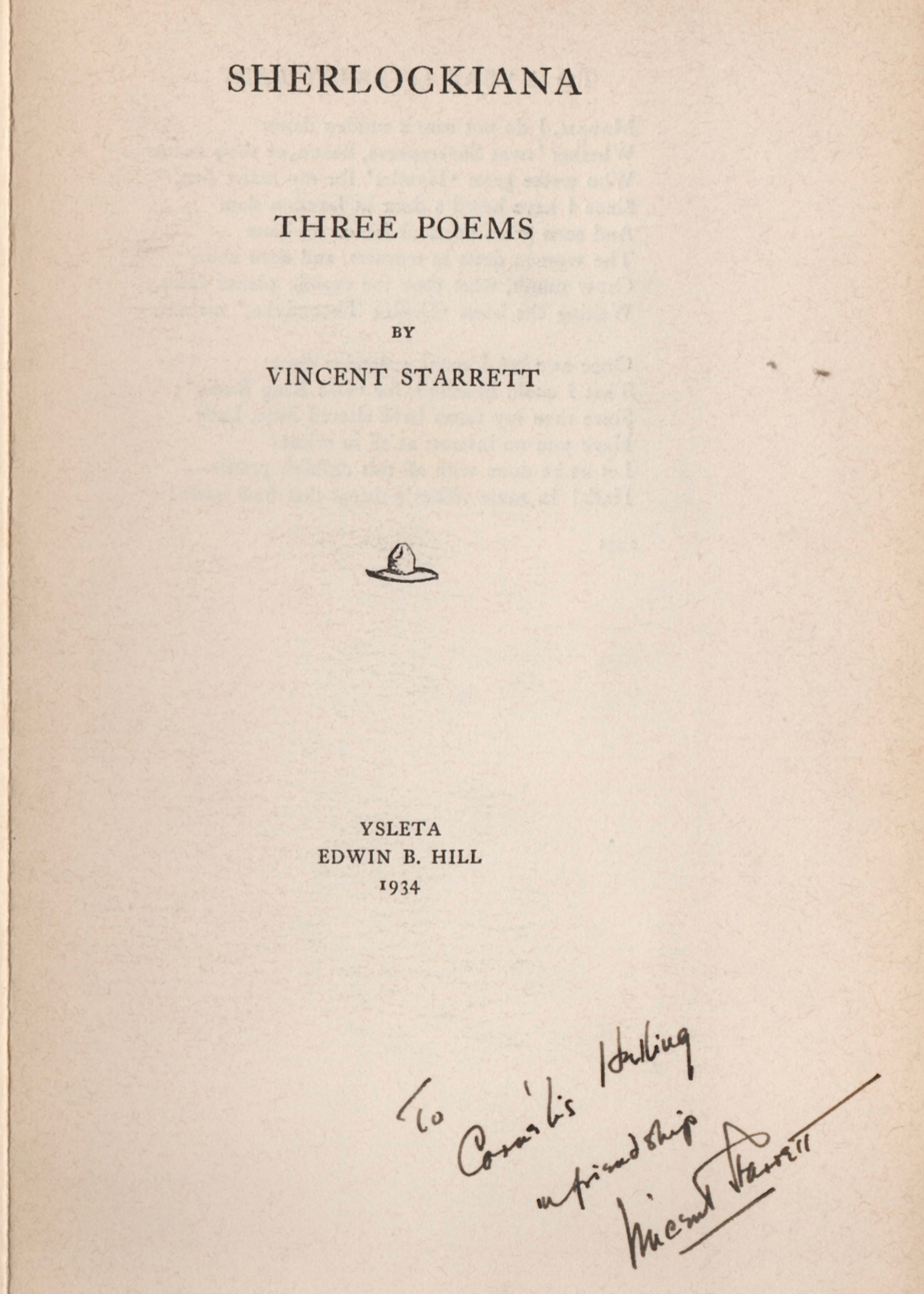 """An earlier example of Sherlockiana produced by Edwin B. Hill for Vincent Starrett. """"Three Poems"""" was printed in 1934, eight years before the leaflet that carried """"221B."""""""