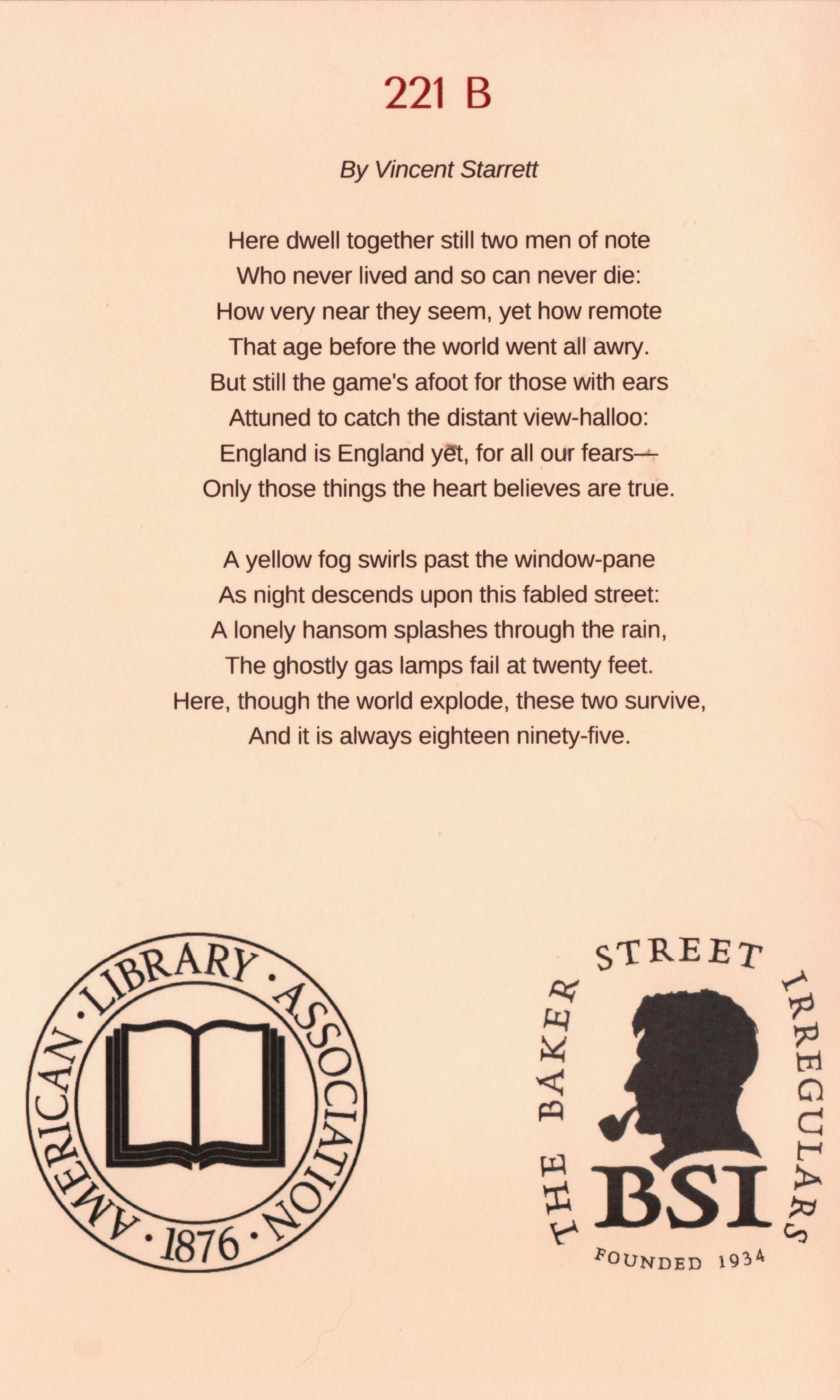 A page from the 50th anniversary program of The Sub-Librarians Scion of the Baker Street Irregulars in the American Library Association, held in Chicago in 2017.