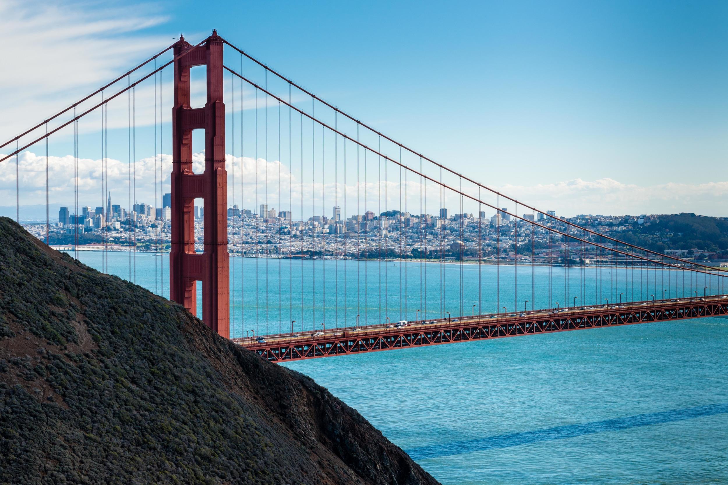 View of downtown San Francisco through the Golden Gate Bride