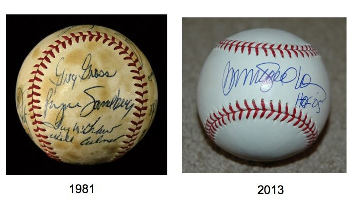 Comparison of Ryne Sandberg autographs: 1981 vs. 2013