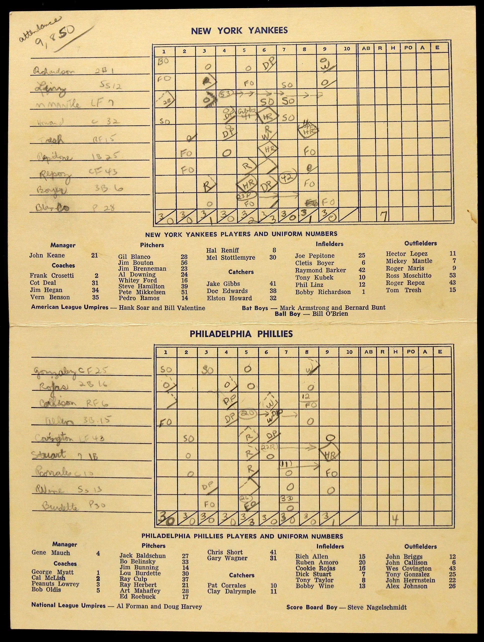 1965 Hall of Fame Game Scorecard
