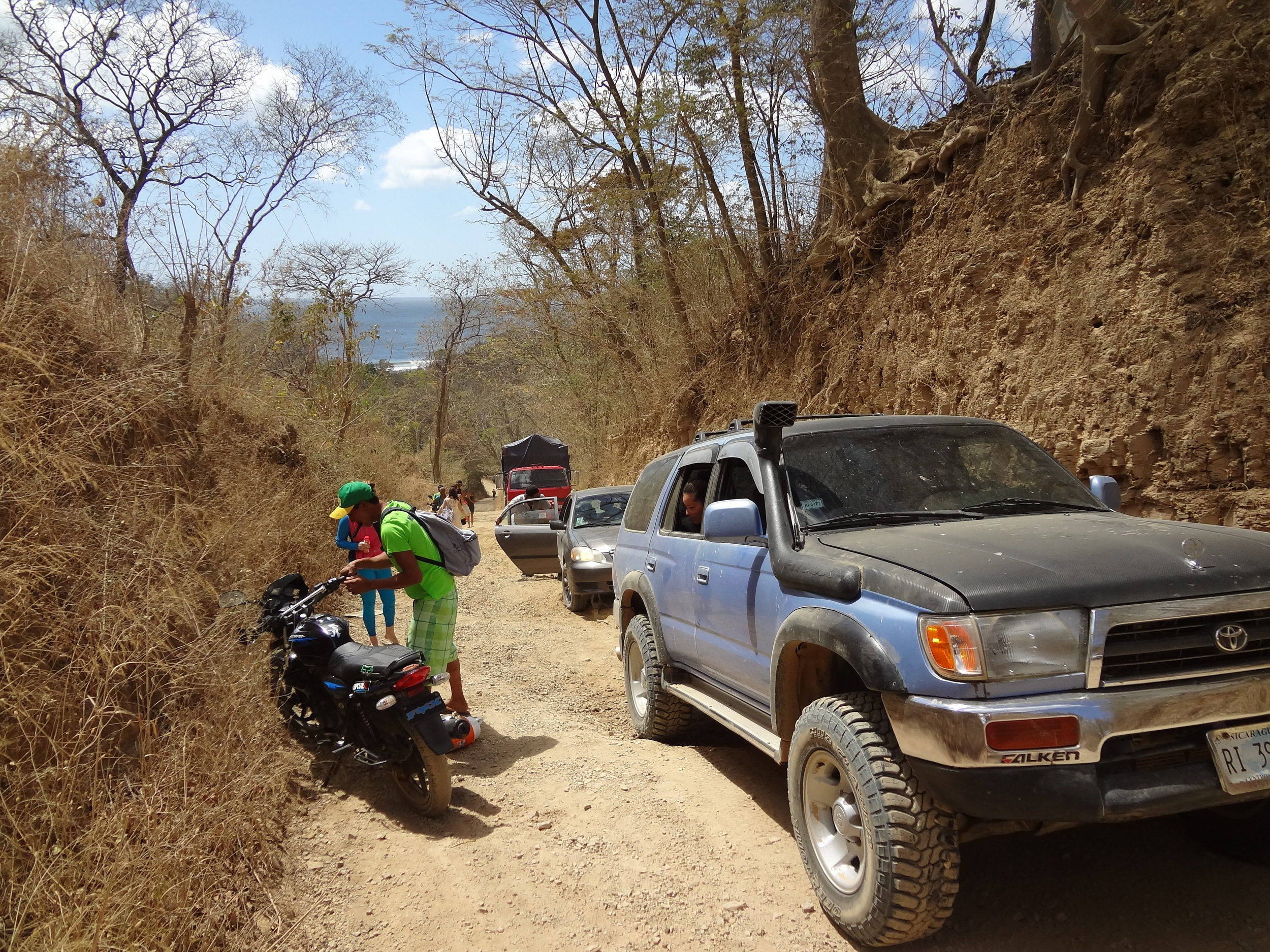 Each time we approached the road to Maderas, we never were 100% sure that we'd make it. Here someone gets towed out.