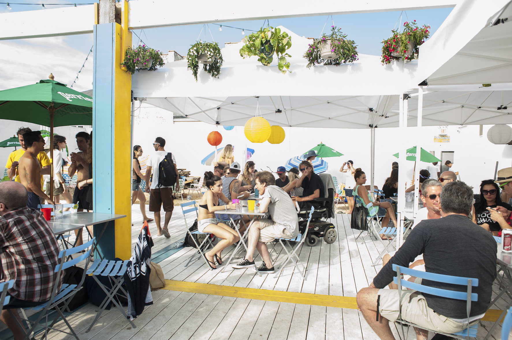 """Playland Motel    A fun experience """"built on the love for art, music, and the beach."""" With a bar and a fantastic outside patio, Playland is a great place to pay a visit to any day of the week and also hosts some great parties."""