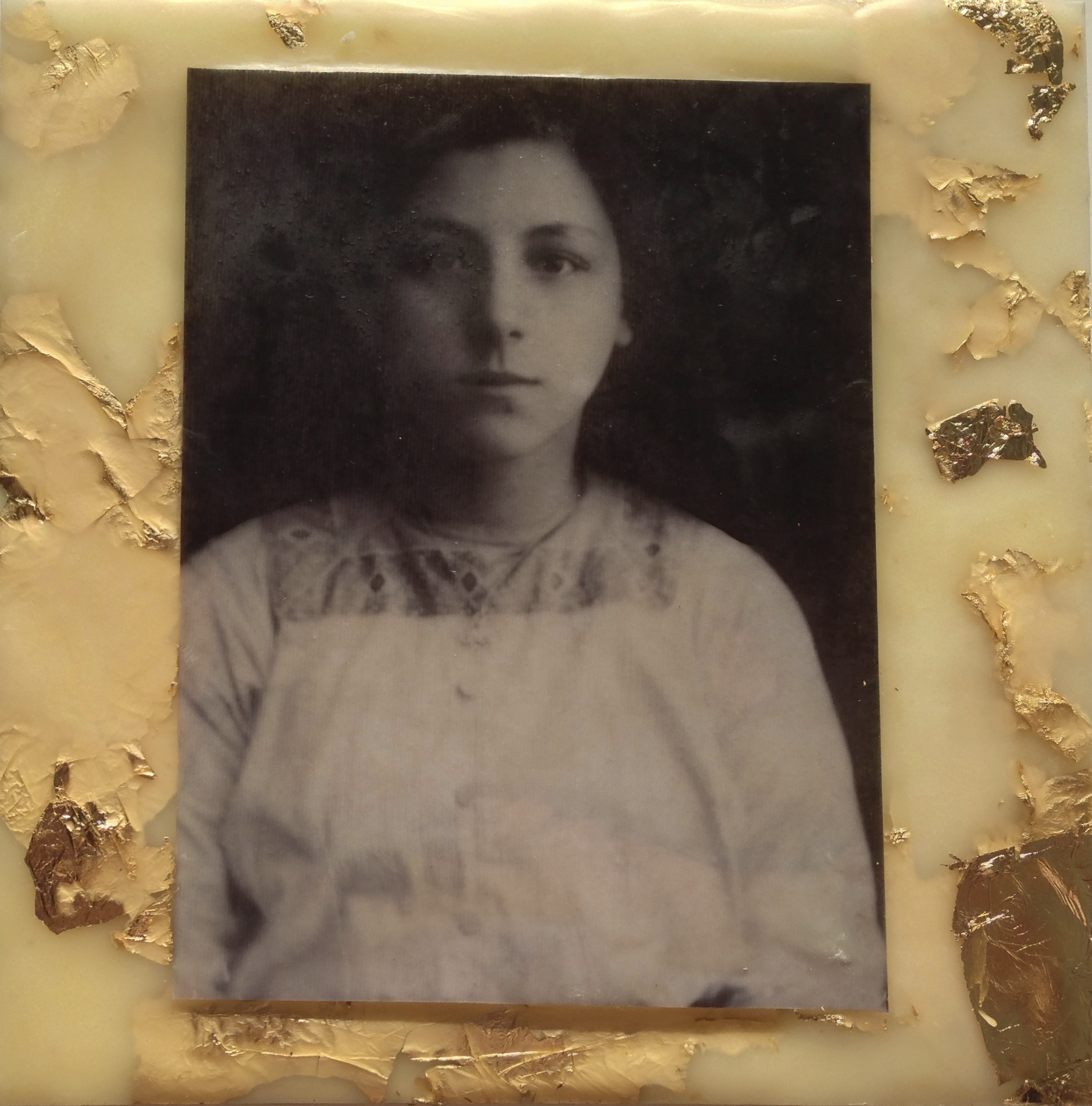 Photo Encaustic With Gold Leaf