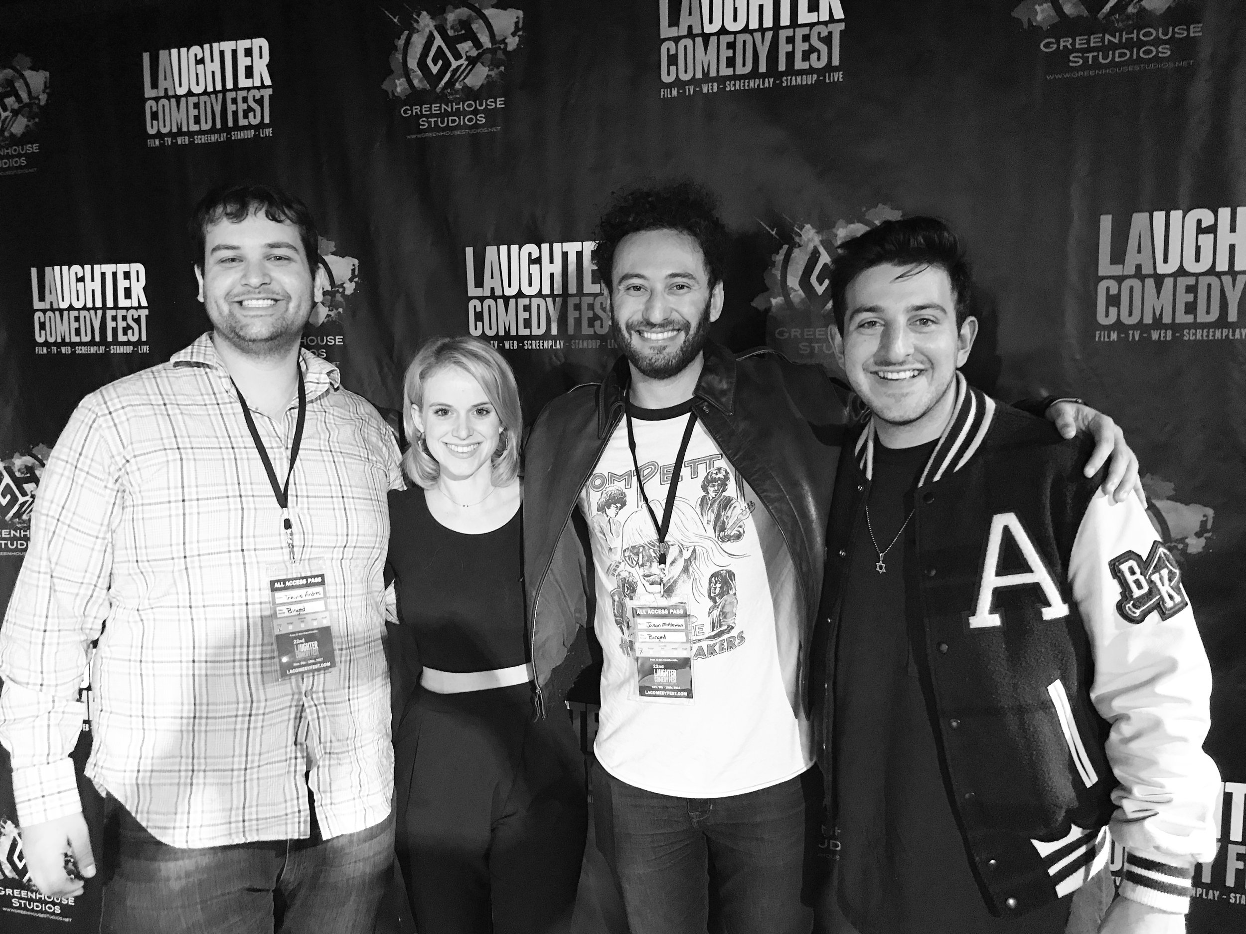 Travis Andres, Carlie Craig, Jason Mittleman and Julien Ari attend LA Comedy Fest where Binged earns the Audience Choice Award