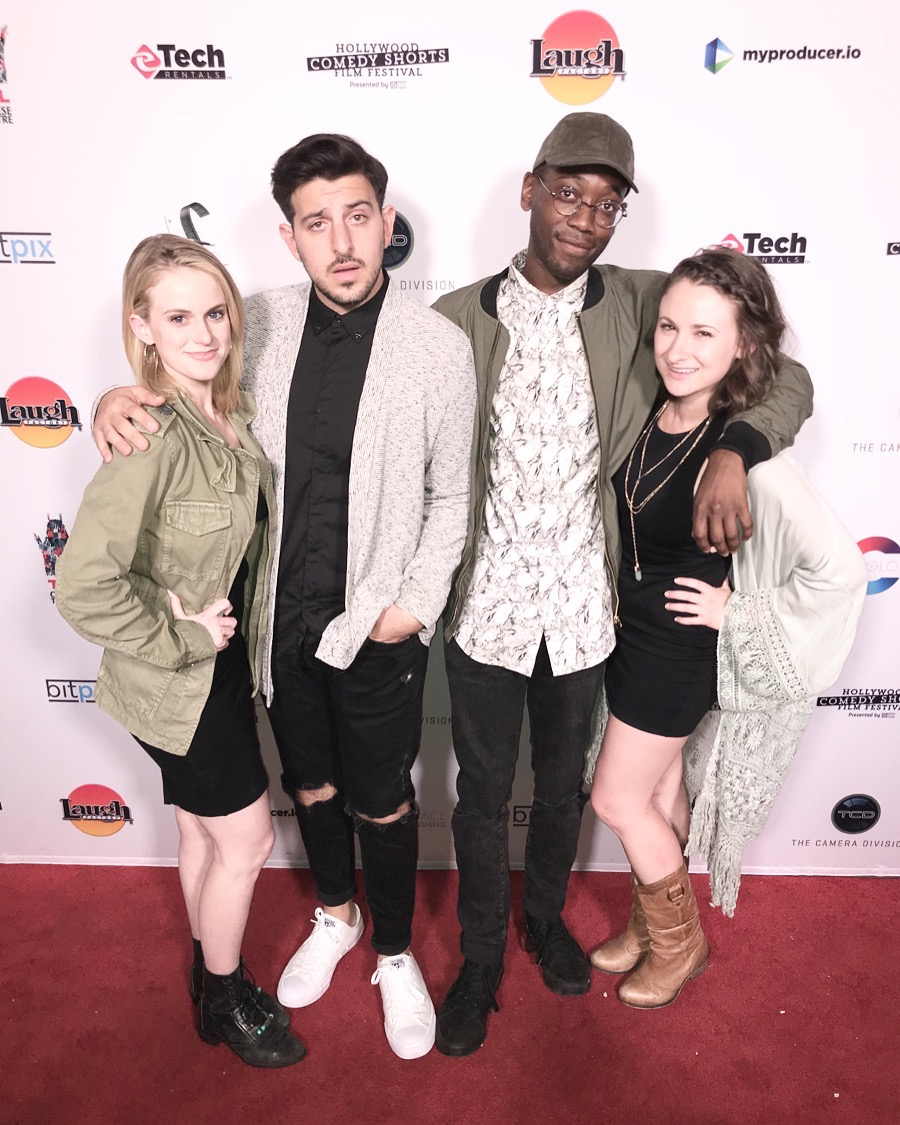 Carlie Craig, Julien Ari, Heather's Adwin Brown, Christine Alicia Rodriguez attend the Hollywood Comedy Shorts Fest at the TLC Chinese Theater on April 21, 2018