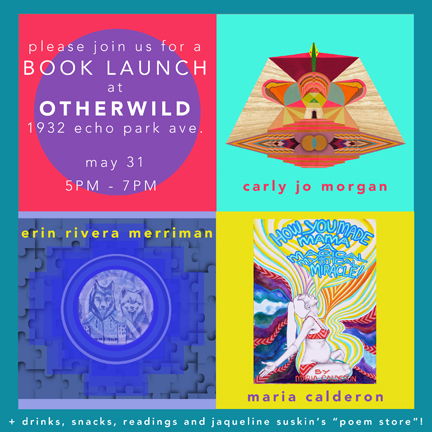 "On saturday evening, I will be sharing some wise wierdo wisdom in the form of a zine this saturday at  Otherwild  in Los Angeles , where super babes  All For the Mountain  and  Maria Calderon  will be unveiling similar book projects. Additional good vibes from Jacquelin Suskin's  Poem Store  and  SUJA Juice  !   Upcoming Book Release!    May 31st, 2014 6-9pm   Otherwild    1932 Echo Park Ave   Los Angeles, CA 90026        About the Books:      Starseed Survival Guide- Volume 1 ,   is the first chapter in a series by artist Erin Rivera Merriman, founder of the multi-dimensional collaborative experiment Active Culture Family.   SSG is a ""what to expect"" guide to the early stages of individuation from our family of origin. Originally conceived as a remedy for teen depression, it aims to counter some of the cultural programming that interferes with our ability to experience joy by depicting ""growing up"" as an ongoing and highly personal inner journey of healing and self discovery.     www.activeculturefamily.com    THE SACRED DOOR   by Carly Jo Morgan is a magical quest inspired by her daughter when she was a seedling in the womb. It is a visual  journey of an inquisitive soulmate duo learning the importance of manifestation. Two canine  companions, The Boo Boo and Wings Livinright, set out on a cosmic expedition to find a place where all dreams come true.  Along the way they encounter a series of mystical characters who offer clues and challenges that propel the pups to far-off lands and places deep within themselves.  An epic poem about companionship, faith, perseverance, and the power of nature,   THE SACRED DOOR   is a children's book that is really for all ages of the New Age.    www.allforthemountain.com       How You Made Mama a Magical Mystical Miracle  by Maria Calderon is a conversation of gratitude for our children and the out of body sensory experience they reveal to us. Child-guided birth is a psychedelic journey. It's a series of altered states of consciousness spiraling through the senses, in each realm of our sensory understanding. Our children unleash questions of progression and replay our own life journey while residing in our wombs, inviting us to grow along with them.   Children awaken the dormant energy within us and bring clarity to our ego-based blocks—but only if we choose to face them.   www.mariacalderon.com"