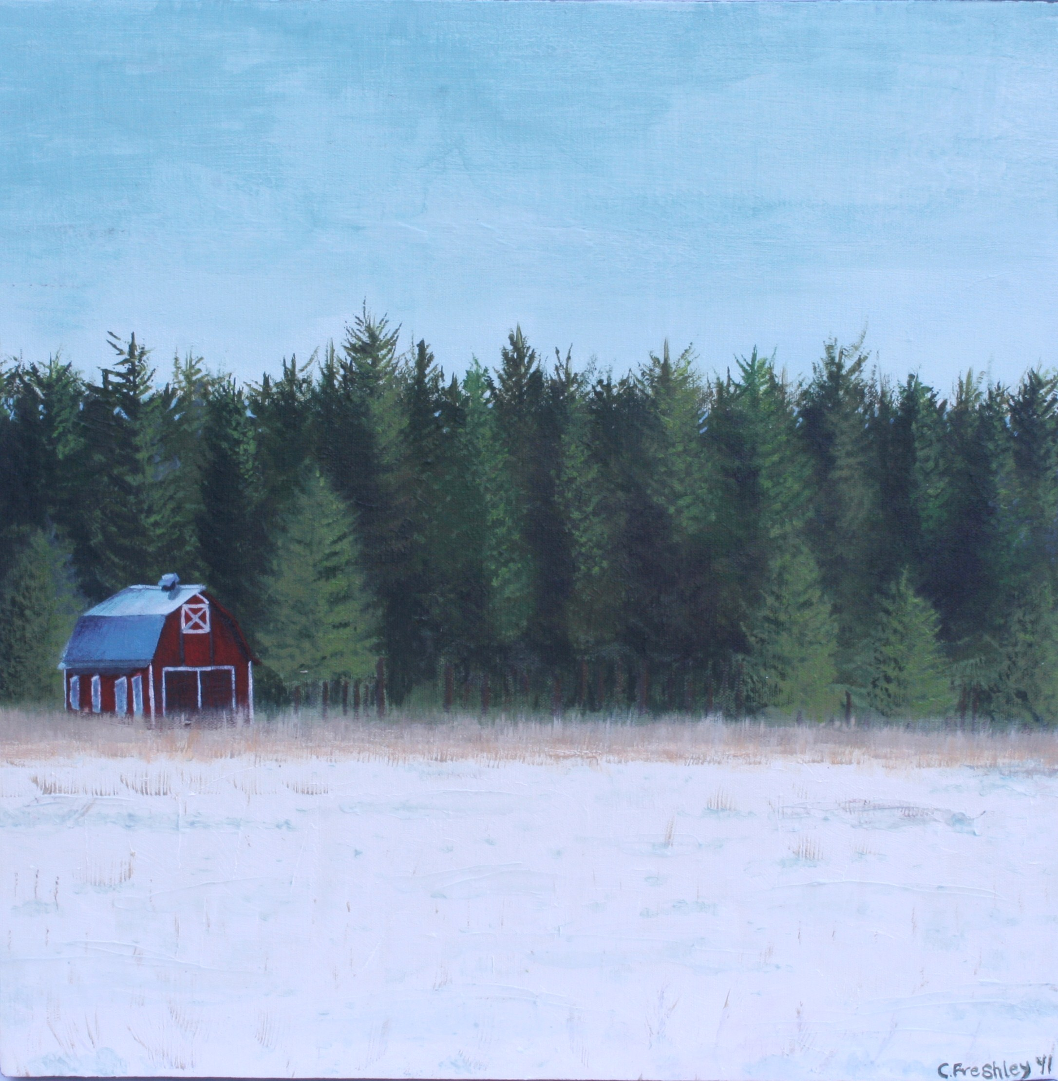 """Red Barn in Snow - 18""""x18"""" - SOLD"""