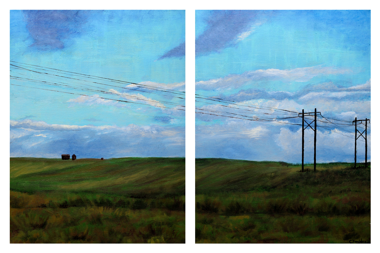 """Powerlines on the Palouse - 18""""x24' (x2) - SOLD"""