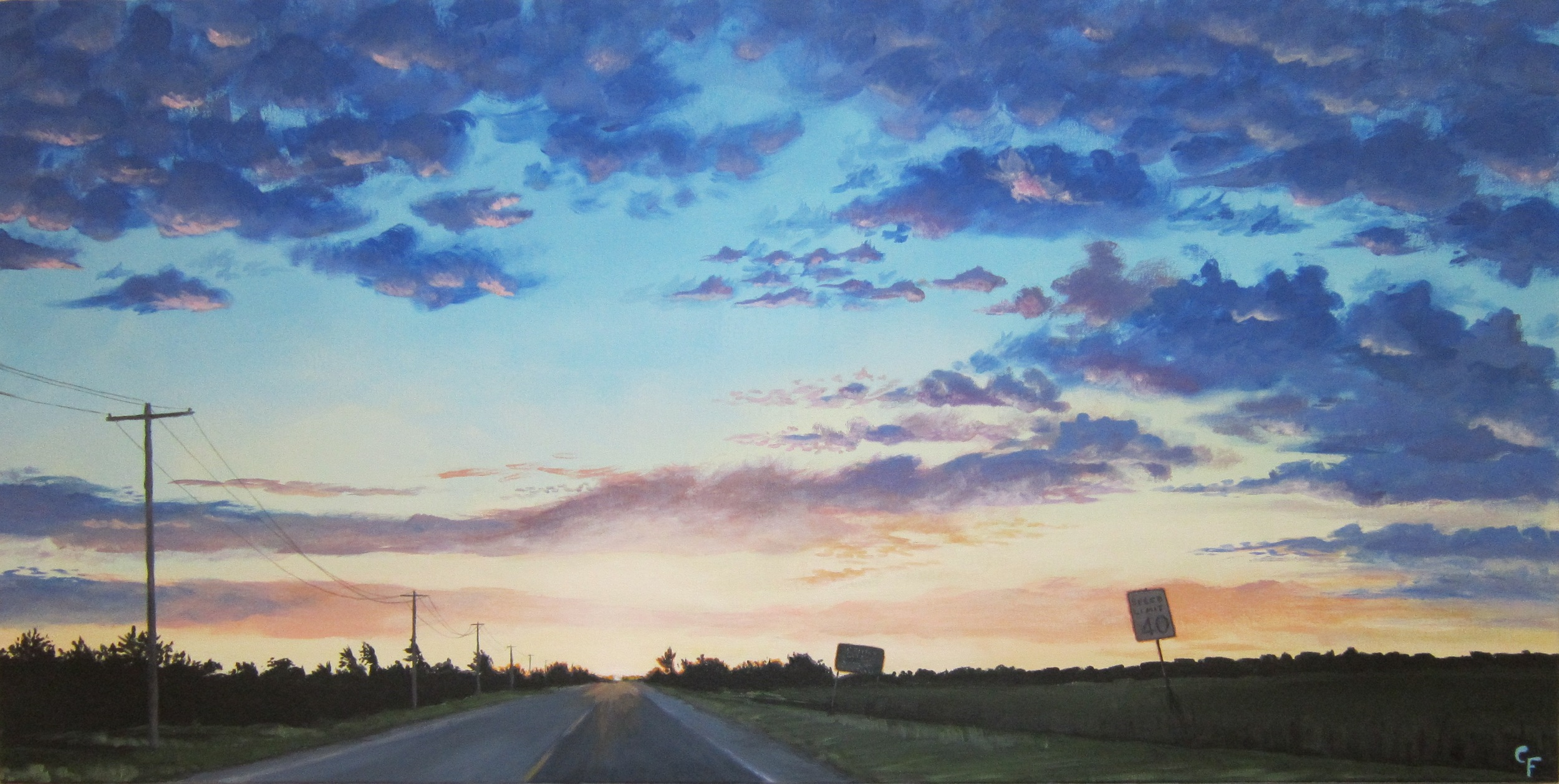 "Enid Sunrise #2 - 24""x48"" - SOLD"