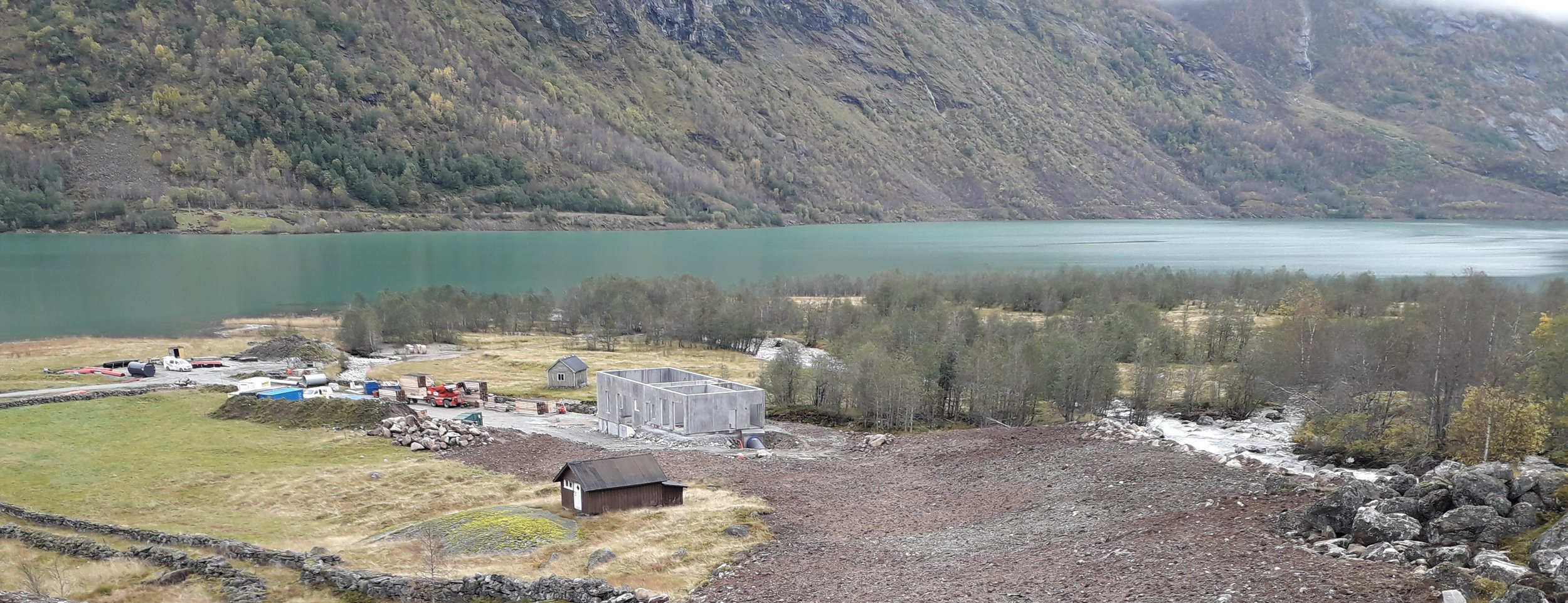 Eldao Kraftverk, stasjonsbygg under bygging