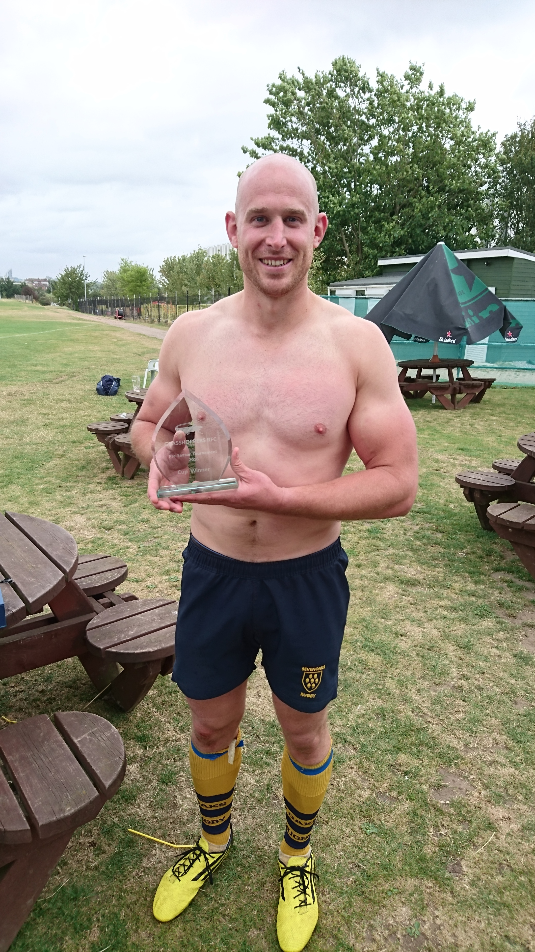 Captain Stuart Coleman with the Grasshoppers Pre-Season Tournament winners trophy