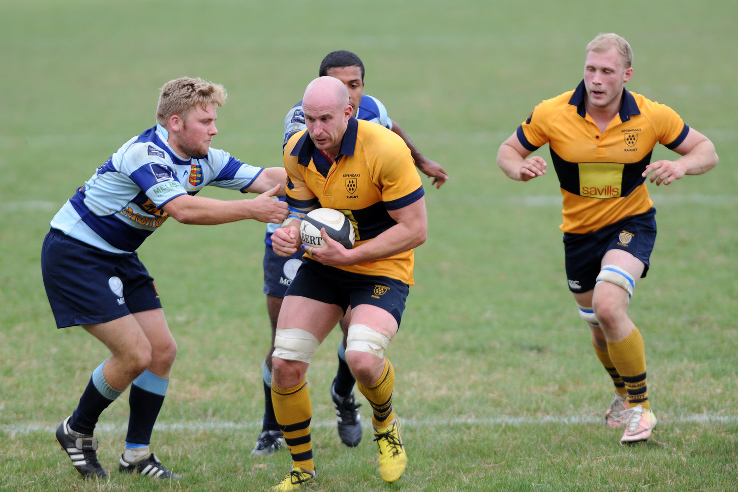 Leading from the front: Captain Stu Coleman was on the score sheet for Oaks with a try in the second half
