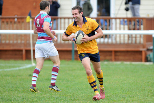 Simon Tree enjoys his second half score in his 101st appearance for the 1st XV. Photo Credit: David Purday
