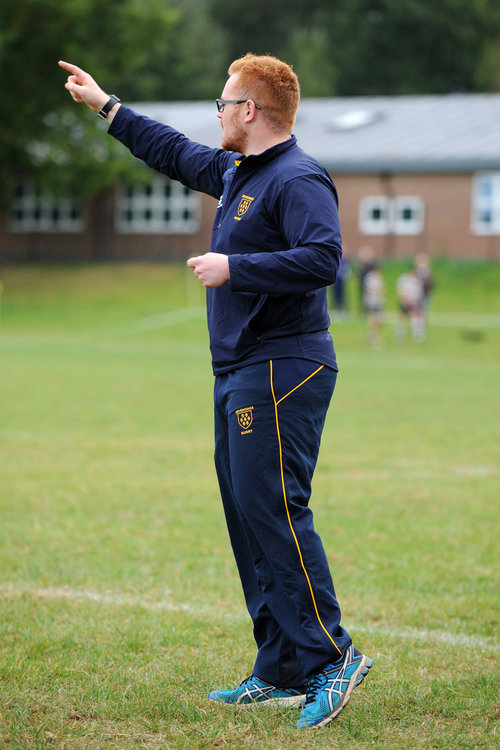 Getting his point across! The Oaks 1st team put in a much improved second half performance after stern words at half-time from Head Coach Adam Bowman. Photo Credit: David Purday