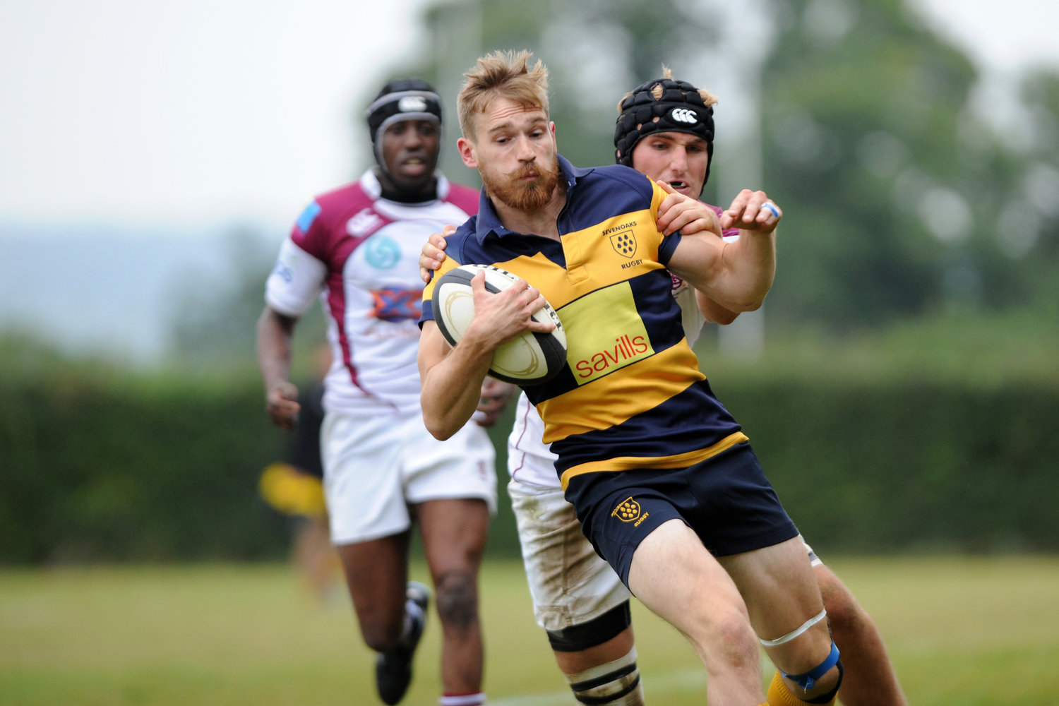 Stop me if you can.  Alex Edwards was on the score sheet with a try. Photo Credit: David Purday