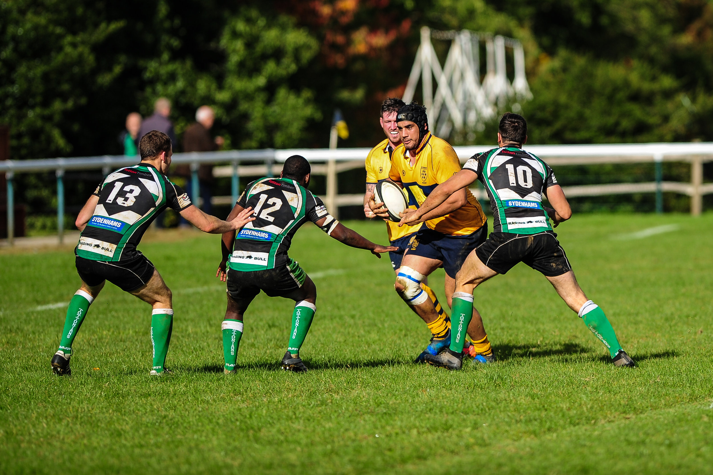 Alex Suttie tries to find his way through the Tottonians defence